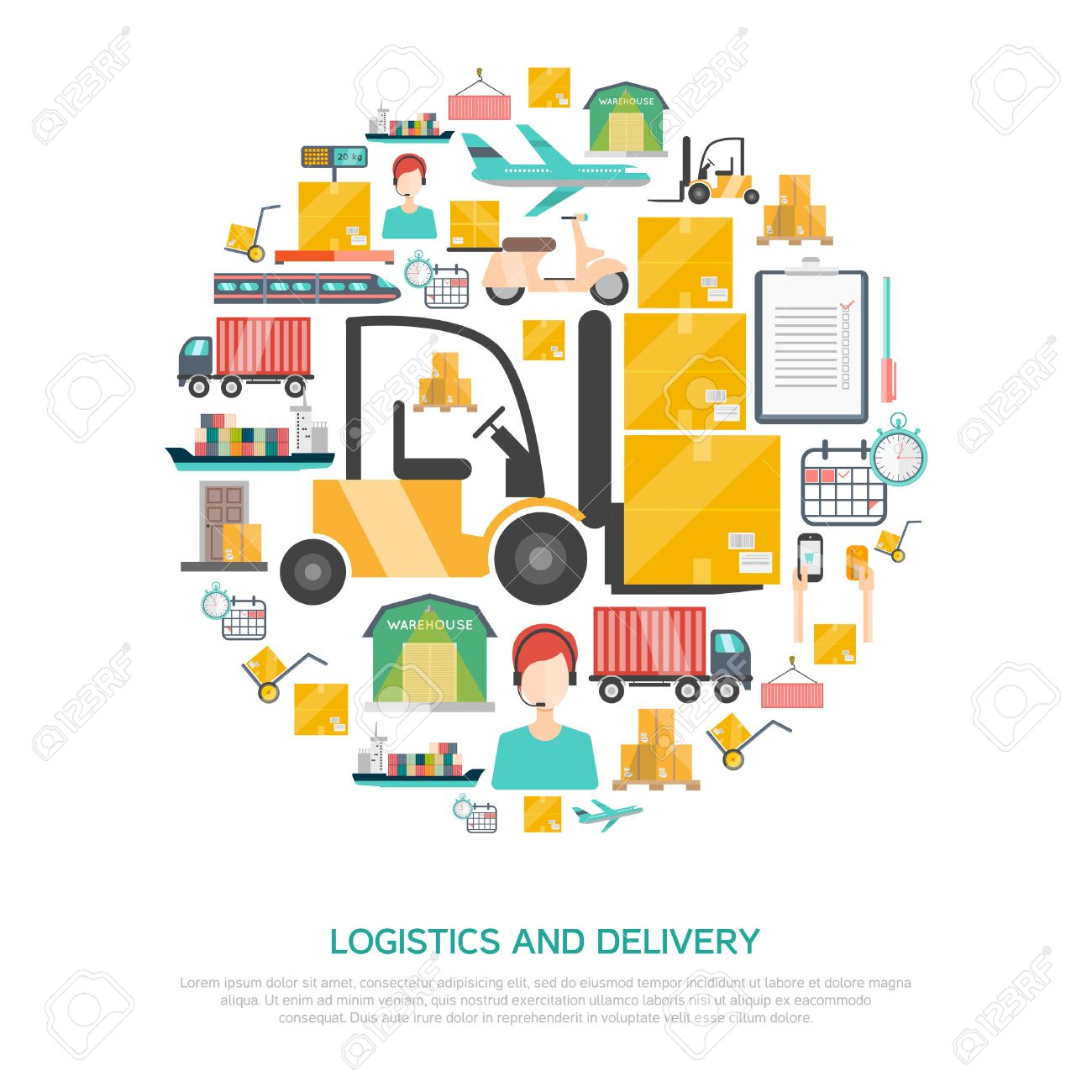 Delightful Logistics And Transportation Concept With Storage And Delivery Symbols Flat  Vector Illustration Stock Vector   45805671