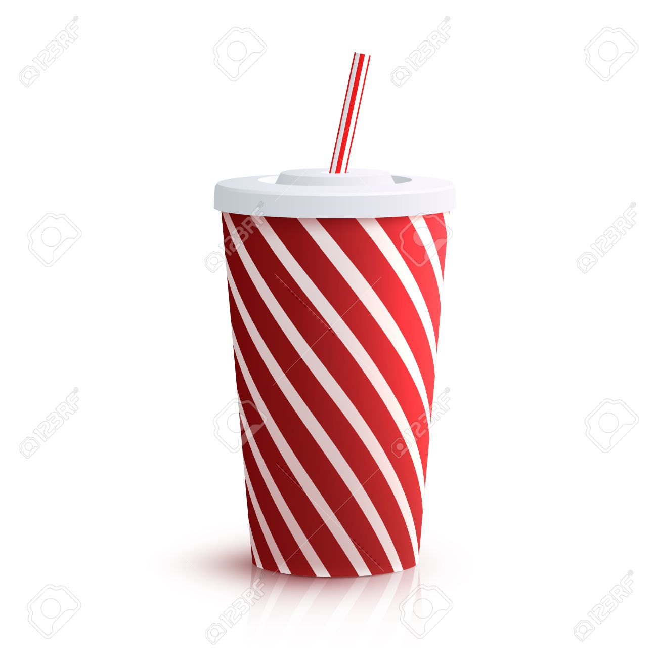 Red striped red striped paper glass with drinking straw isolated on white background vector illustration - 45805938