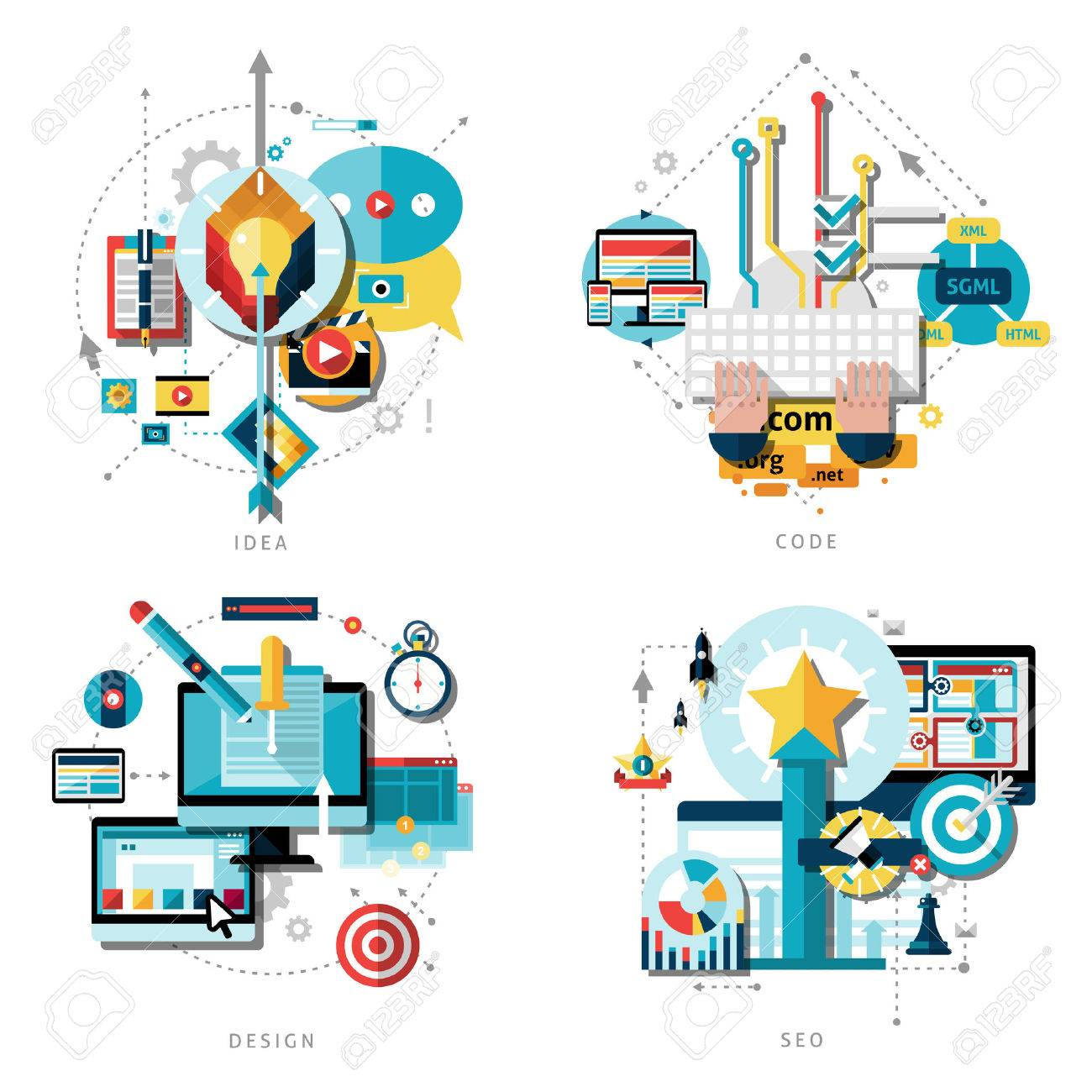 creative work and ideas icons set with computer design projects and success flat isolated vector illustration