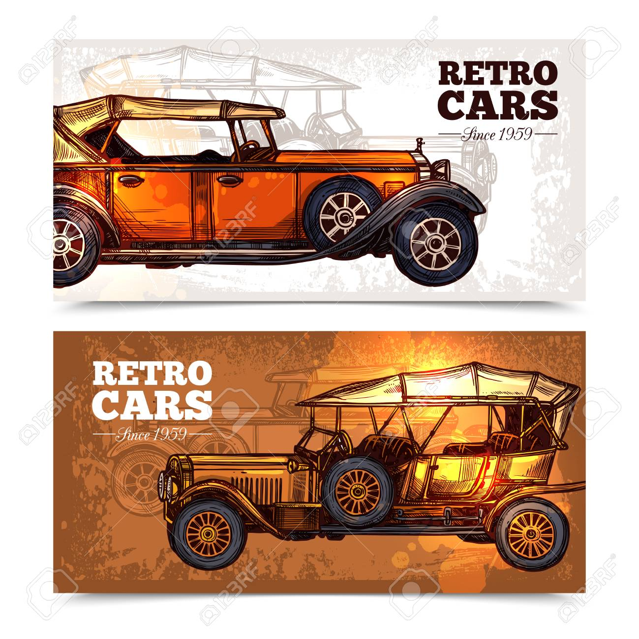 Retro Cars Horizontal Banner Set With Hand Drawn Old Style Vehicles ...