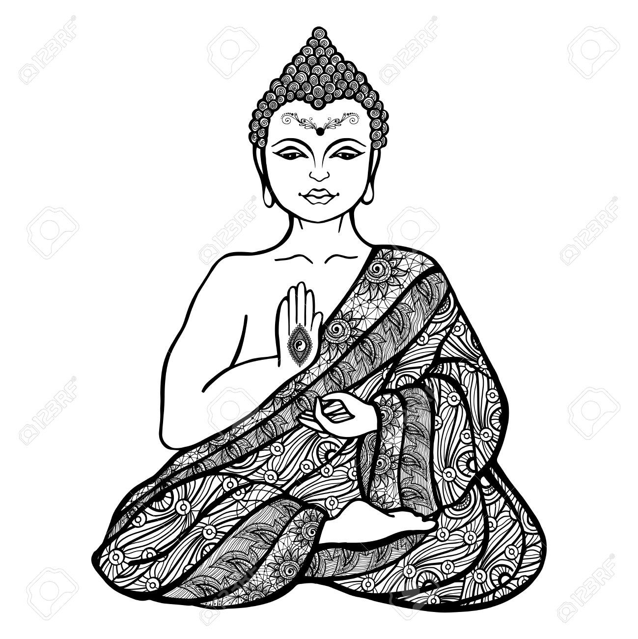 Decorative buddha in lotus position in ornamental cloth sketch vector illustration stock vector 45806855