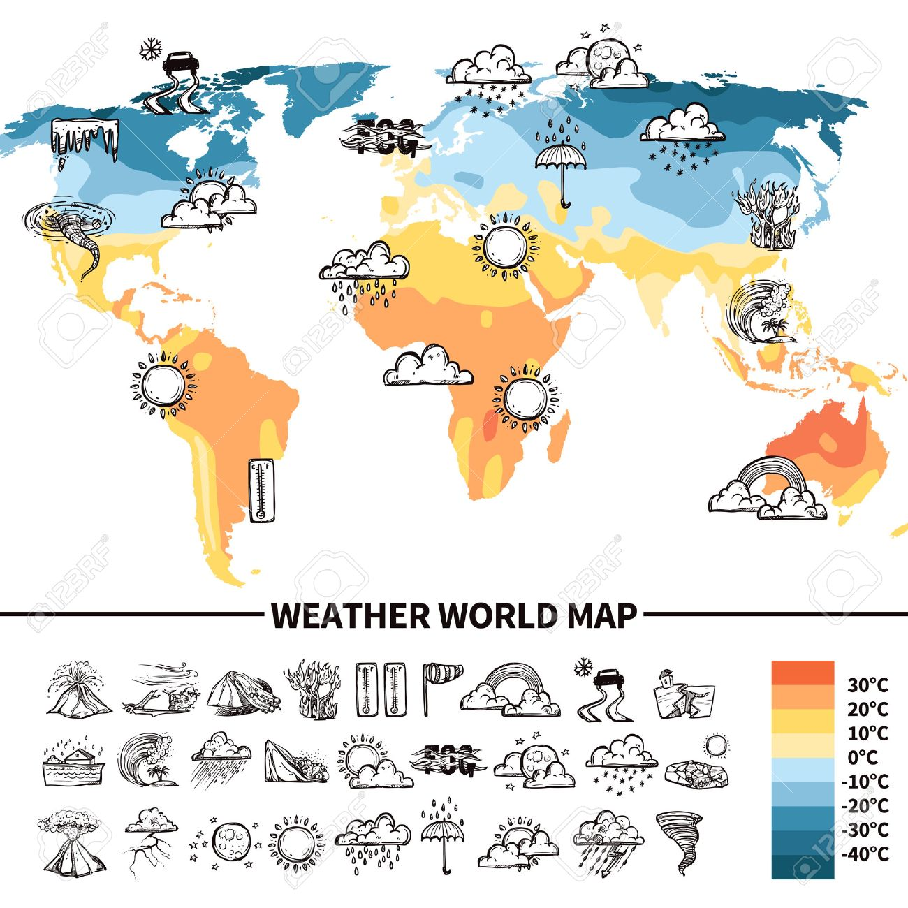 Meteorology Design Concept With Sketch Weather Forecast Symbols