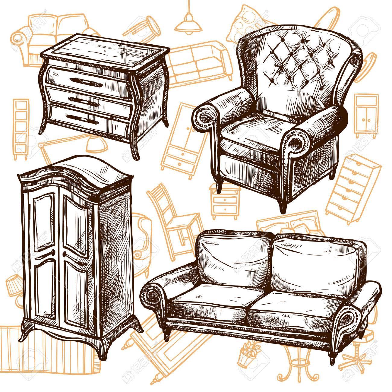 Muebles Sillón Armario Y Una Cómoda Vintage Garabatear Mano Boceto ...