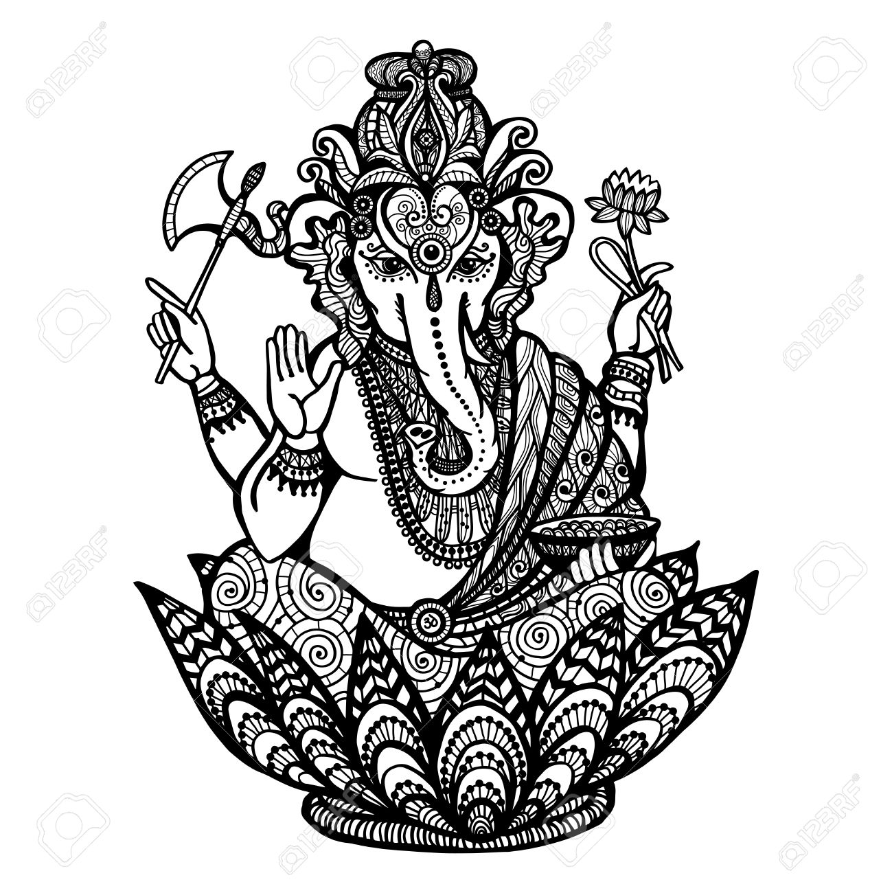 decorative ganesha hindu god sitting in lotus flower hand drawn, Beautiful flower