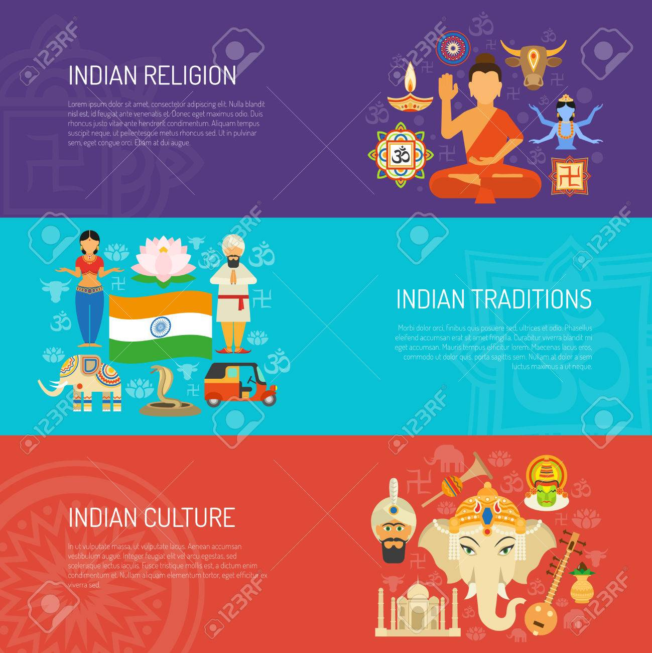 india horizontal banner set with culture and religion elements