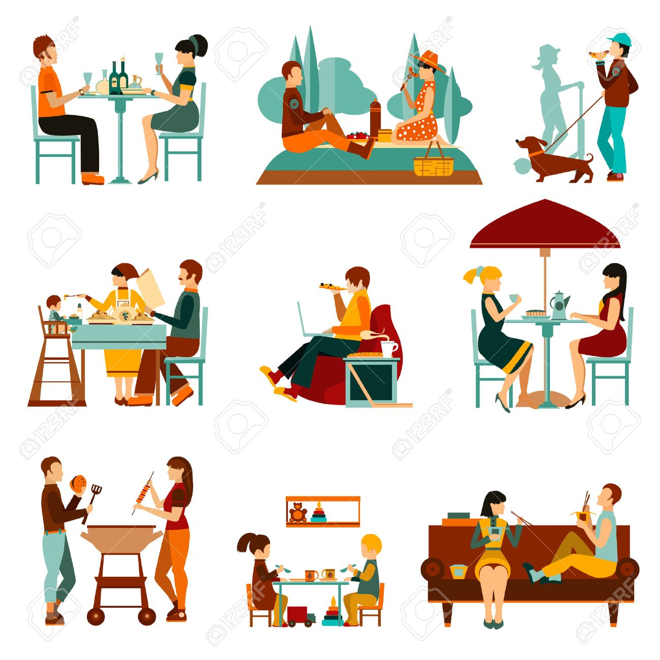 People eating out and an homes flat icons set isolated vector illustration - 46499062