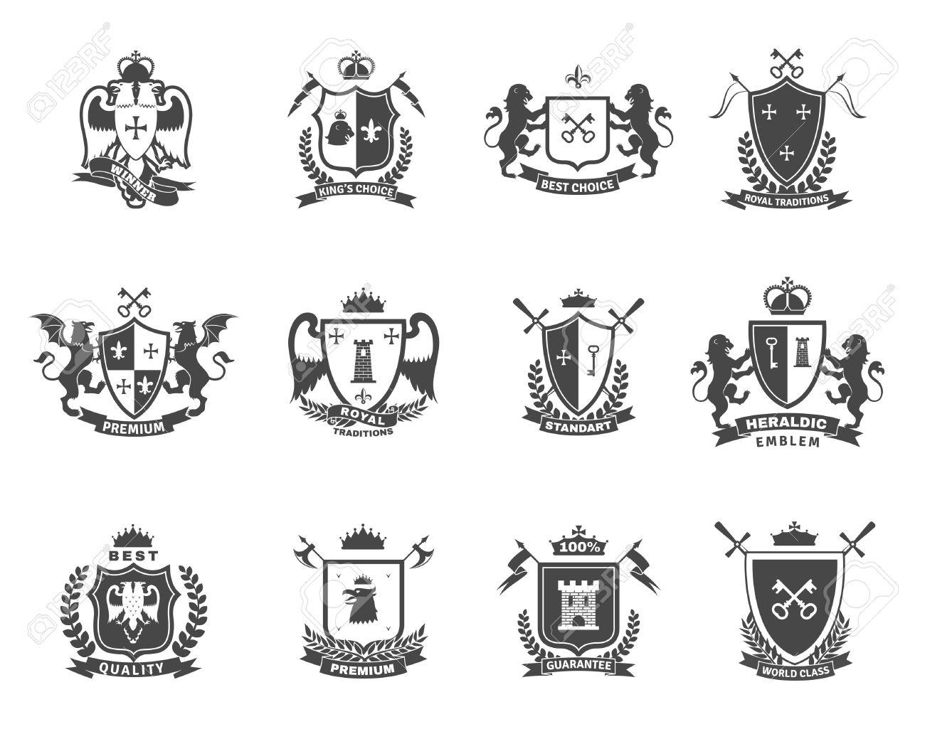 Heraldic premium quality black white emblems set with royal traditions symbols flat isolated vector illustration - 46499242
