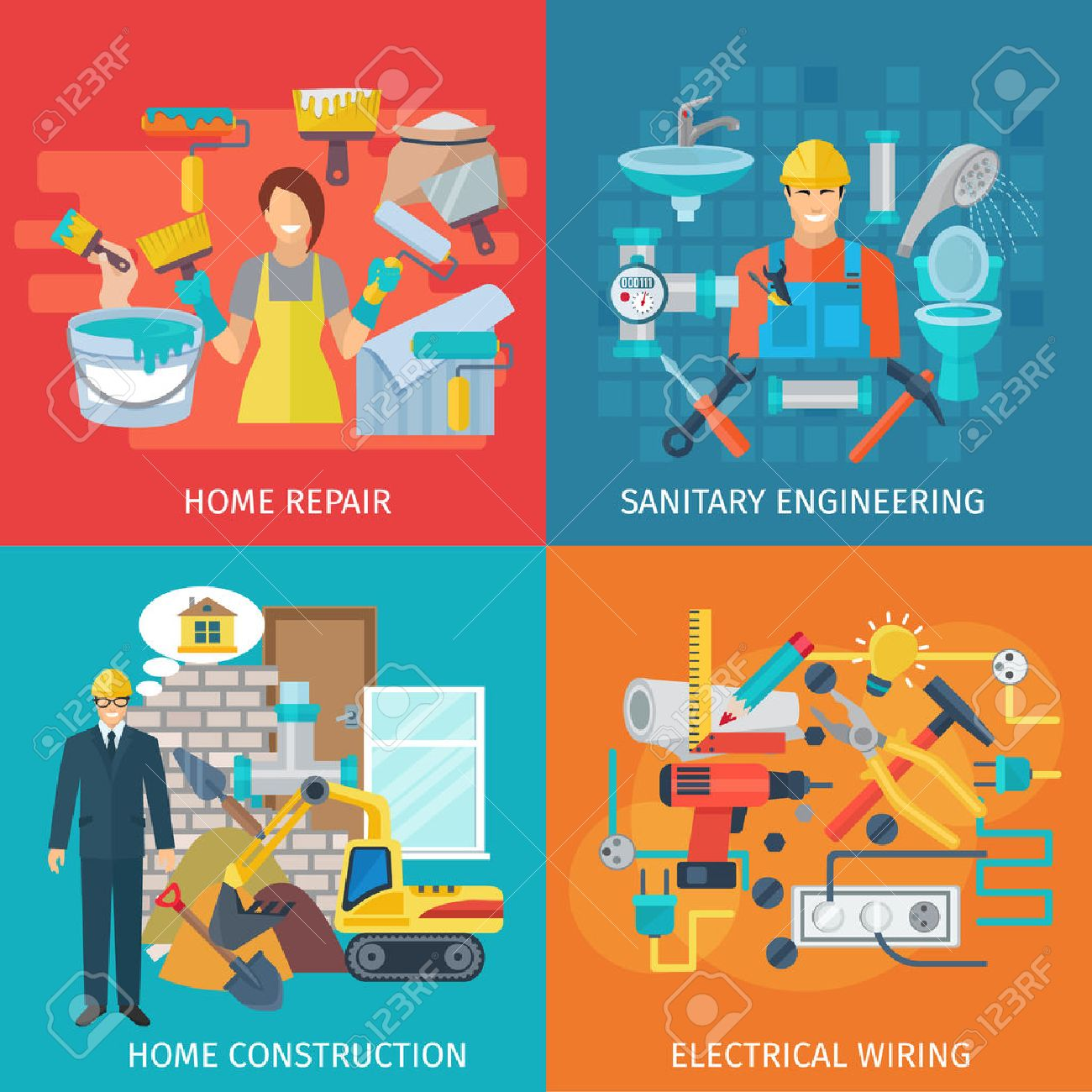 Home repair design concept set with sanitary engineering flat icons  isolated vector illustration Stock Vector. Home Repair Design Concept Set With Sanitary Engineering Flat