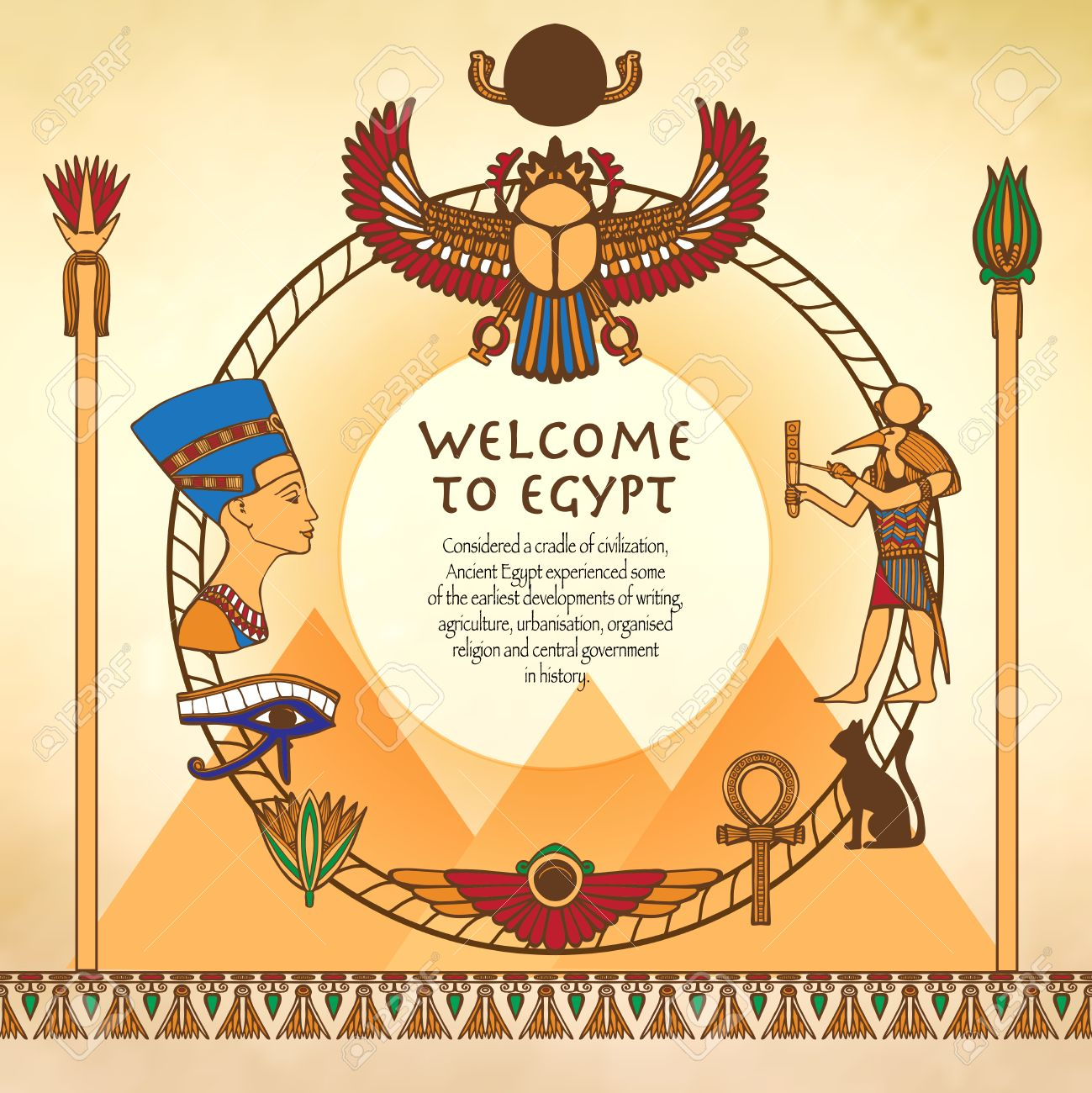 Egyptian Background With Frame Made Of Egypt Ancient Symbols