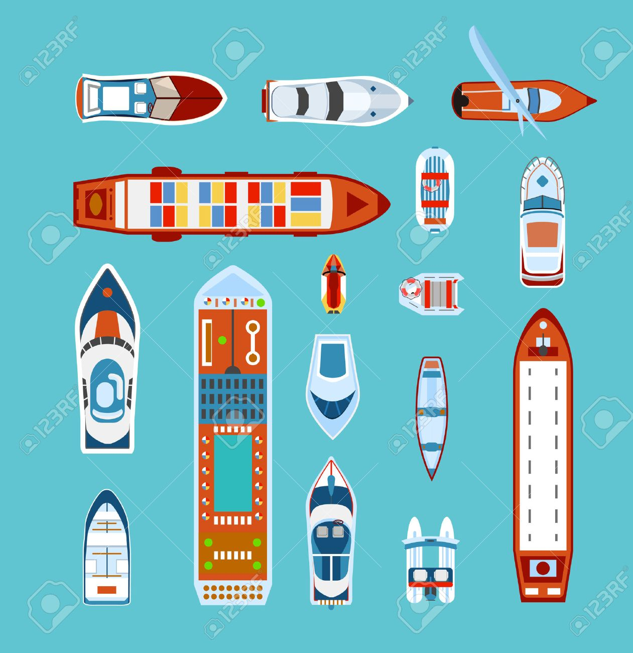 Various ships and boats types on water view from above with cruise liner abstract vector illustration - 47625369