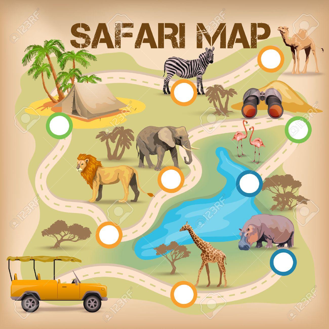 Cartel Para El Juego Con El Mapa De Safari Y Africa Animales Iconos Iracion Vectorial Aislado