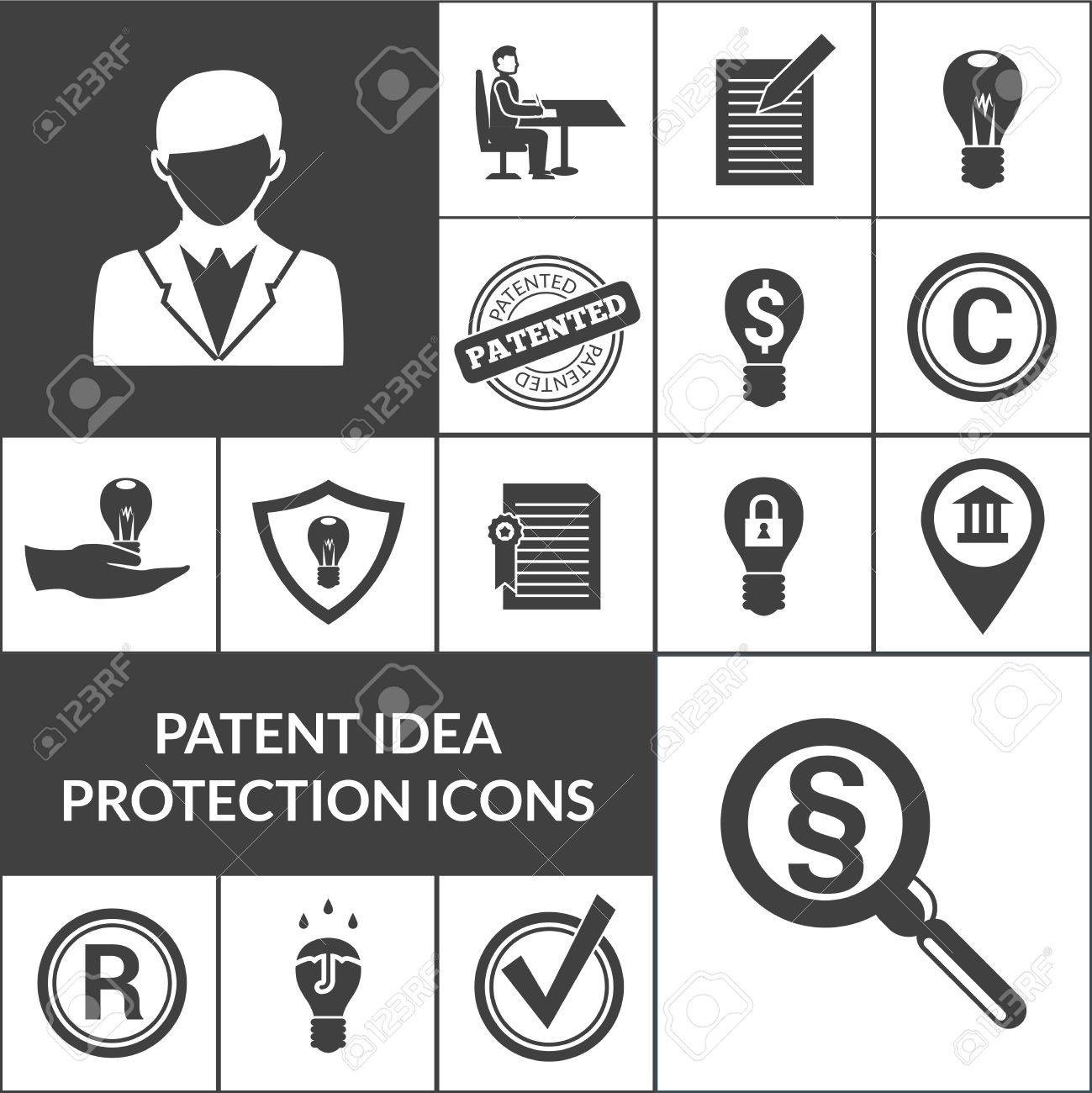 Patent idea protection and intellectual property icons black patent idea protection and intellectual property icons black isolated vector illustration stock vector 47626858 biocorpaavc