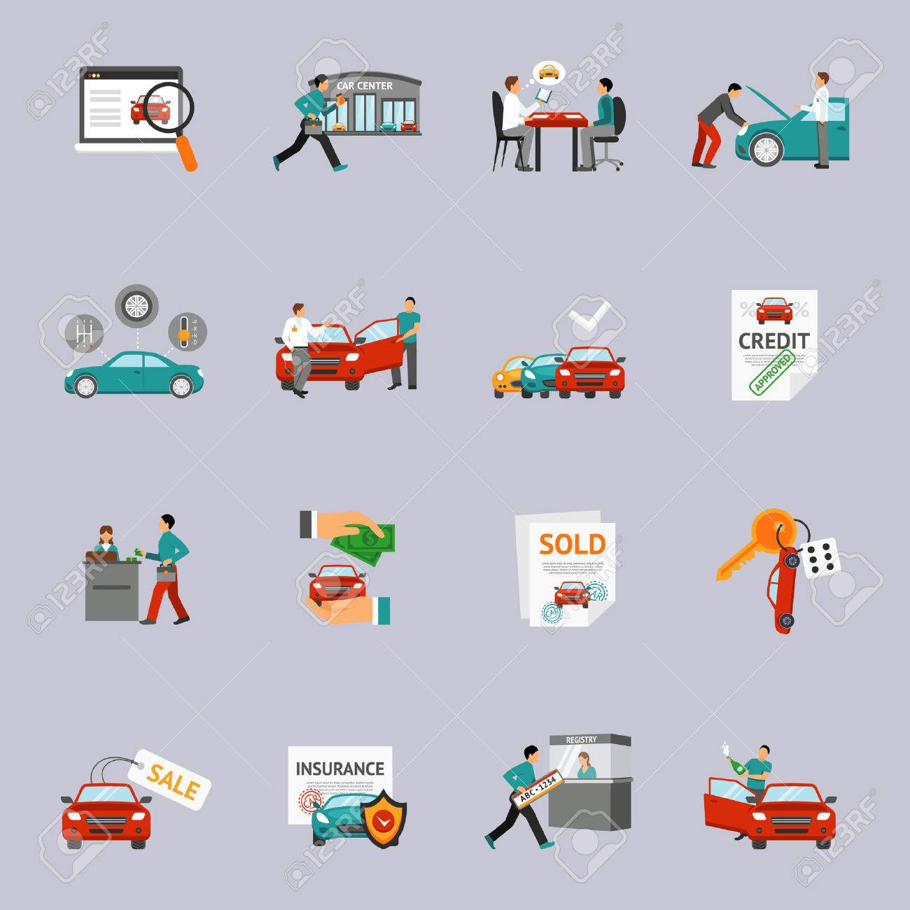 Car dealership and automobile retail icon set isolated vector illustration - 47627132