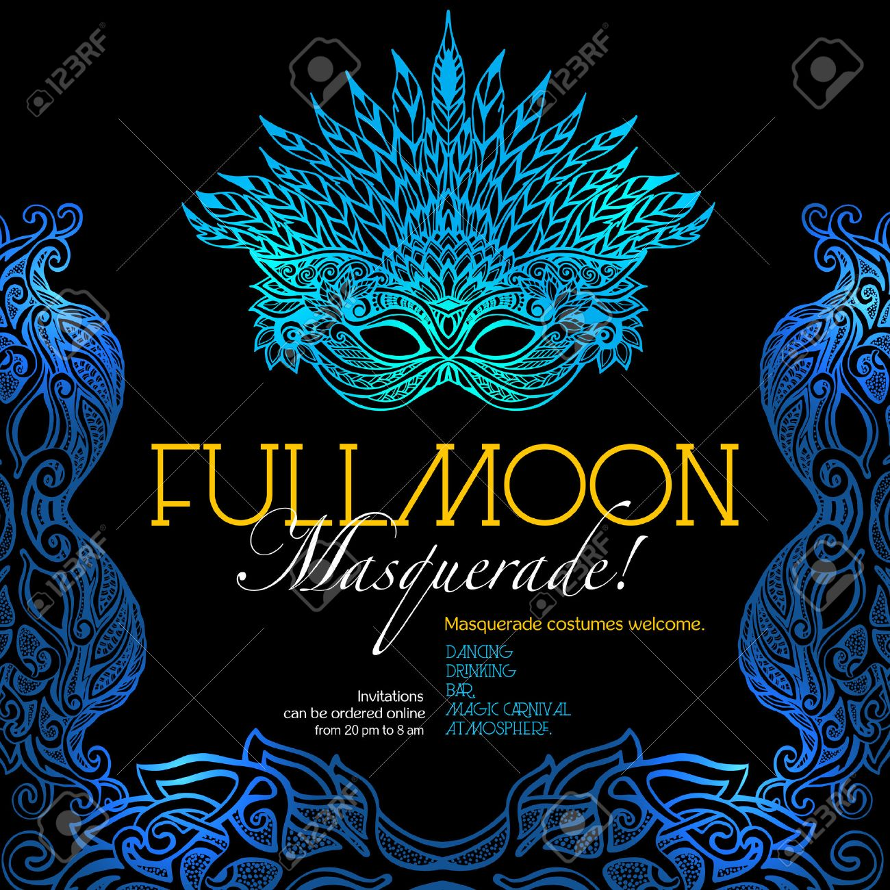 Masquerade Ball Party Invitation Poster With Retro Style Venetian ...