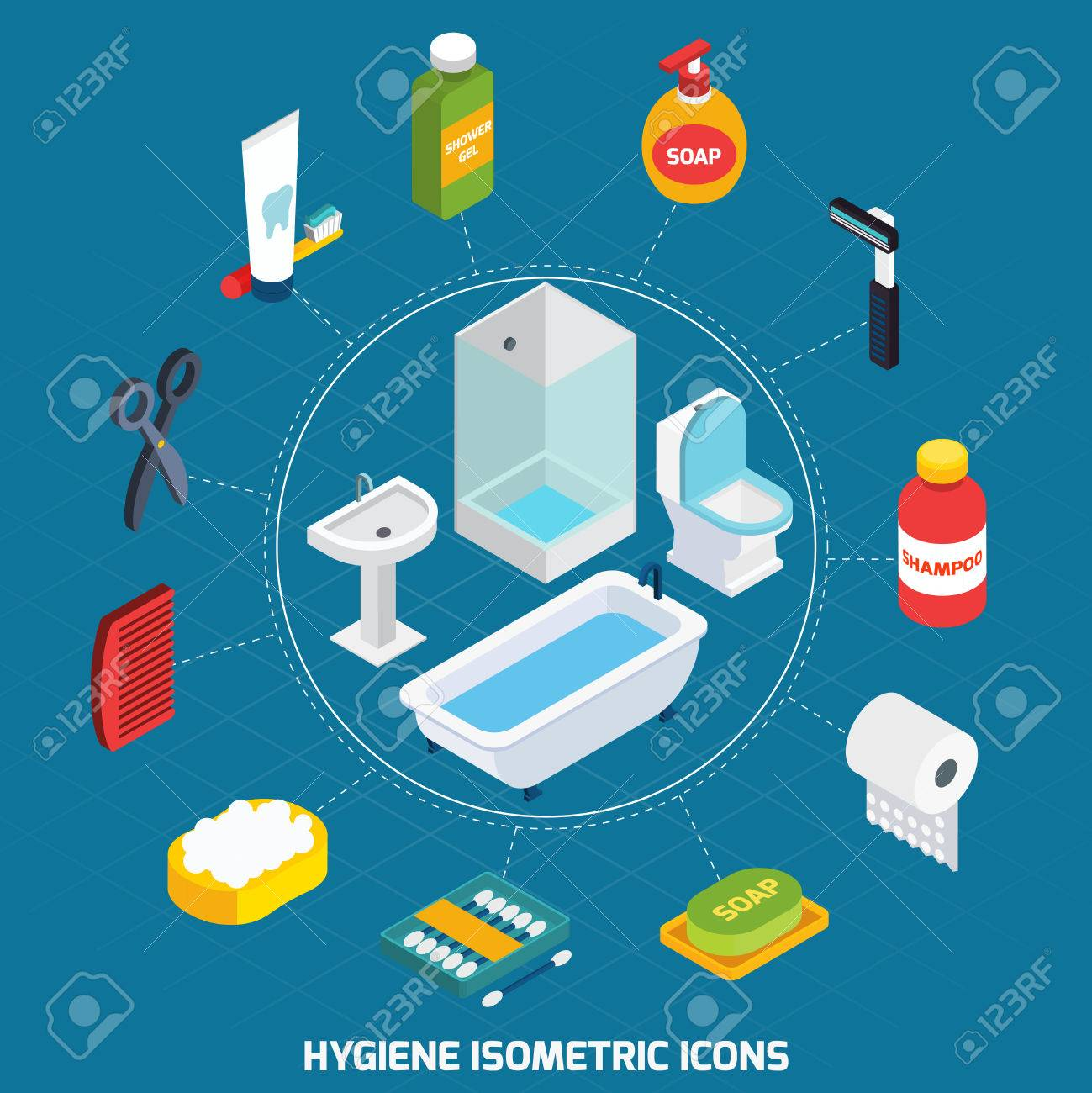 hygiene isometric icons set with bathroom equipment and toiletries vector illustration stock vector 47627719