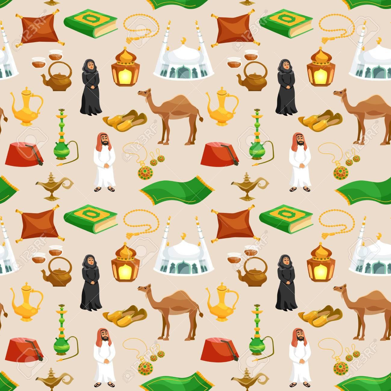 Arabic Culture Seamless Pattern With Camel Tea Pot Mosque Cartoon ...