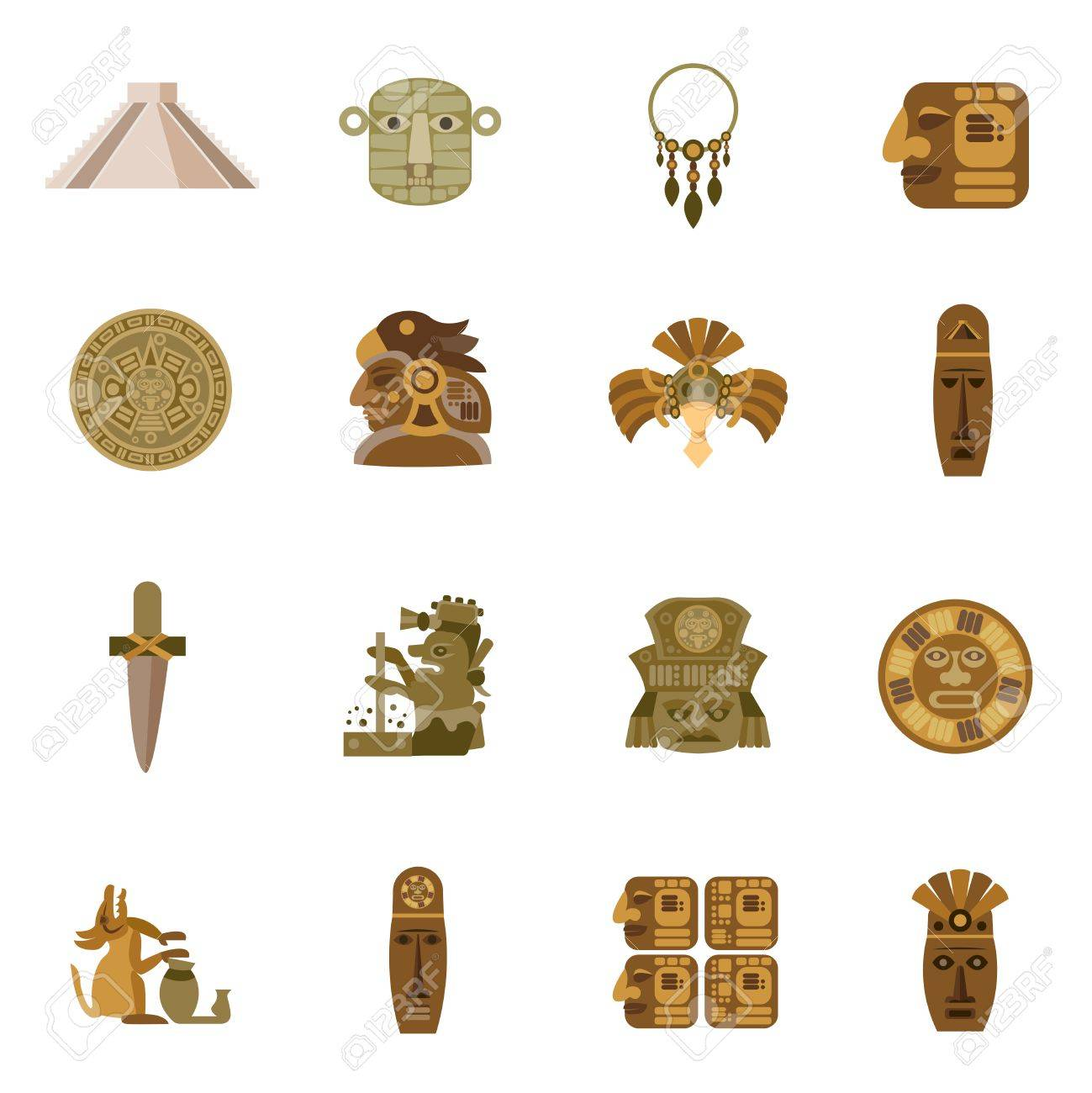 Flat Icon Maya Indian Tribal Religion Symbols Set Isolated Vector