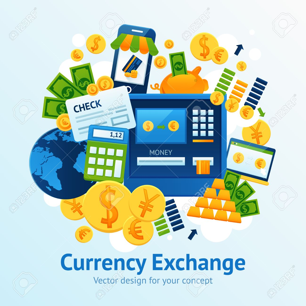 Currency exchange concept with financial market symbols set vector currency exchange concept with financial market symbols set vector illustration stock vector 47628066 biocorpaavc Images