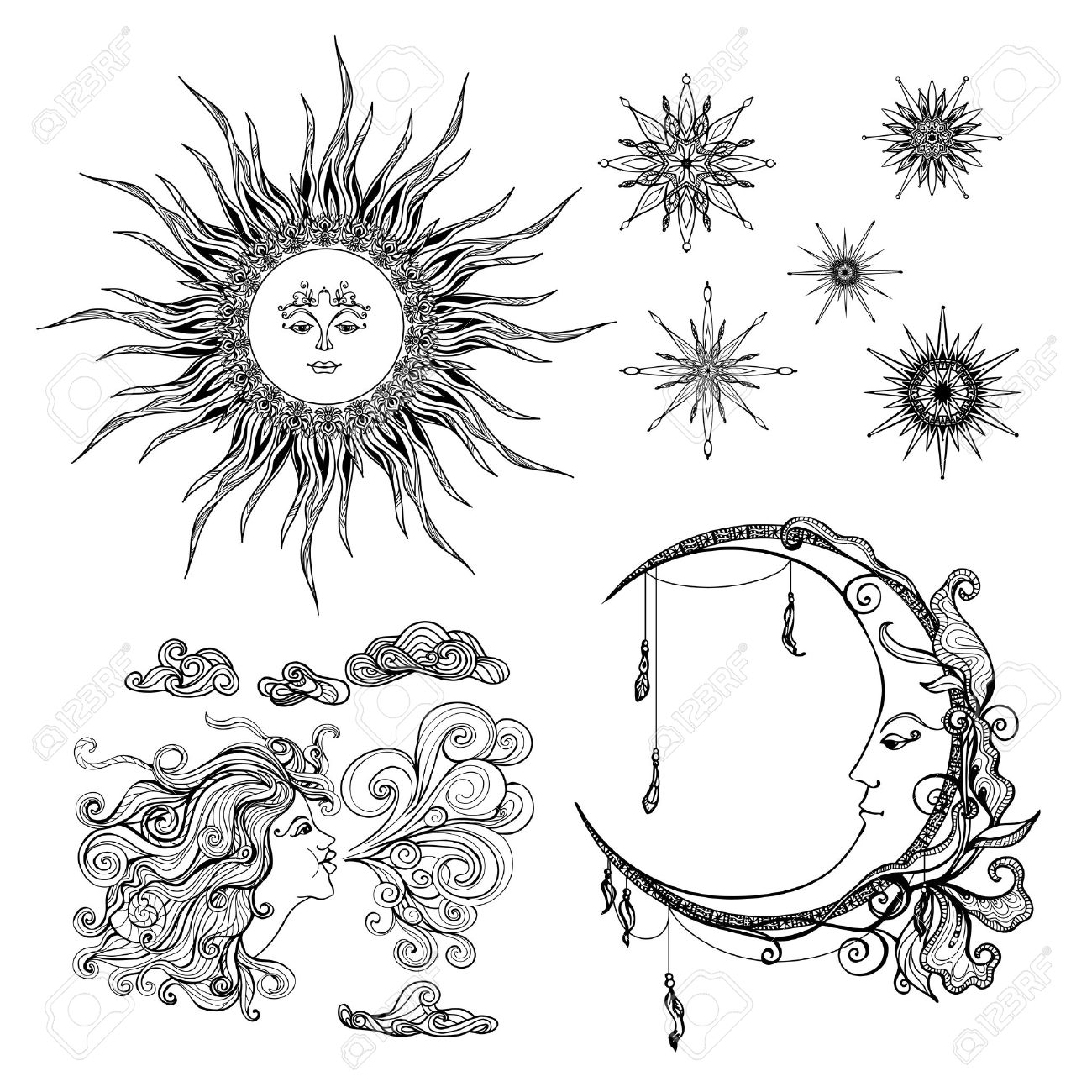 Fairytale style sun moon and wind antropomorphic symbols set fairytale style sun moon and wind antropomorphic symbols set isolated vector illustration stock vector 47628493 biocorpaavc Images