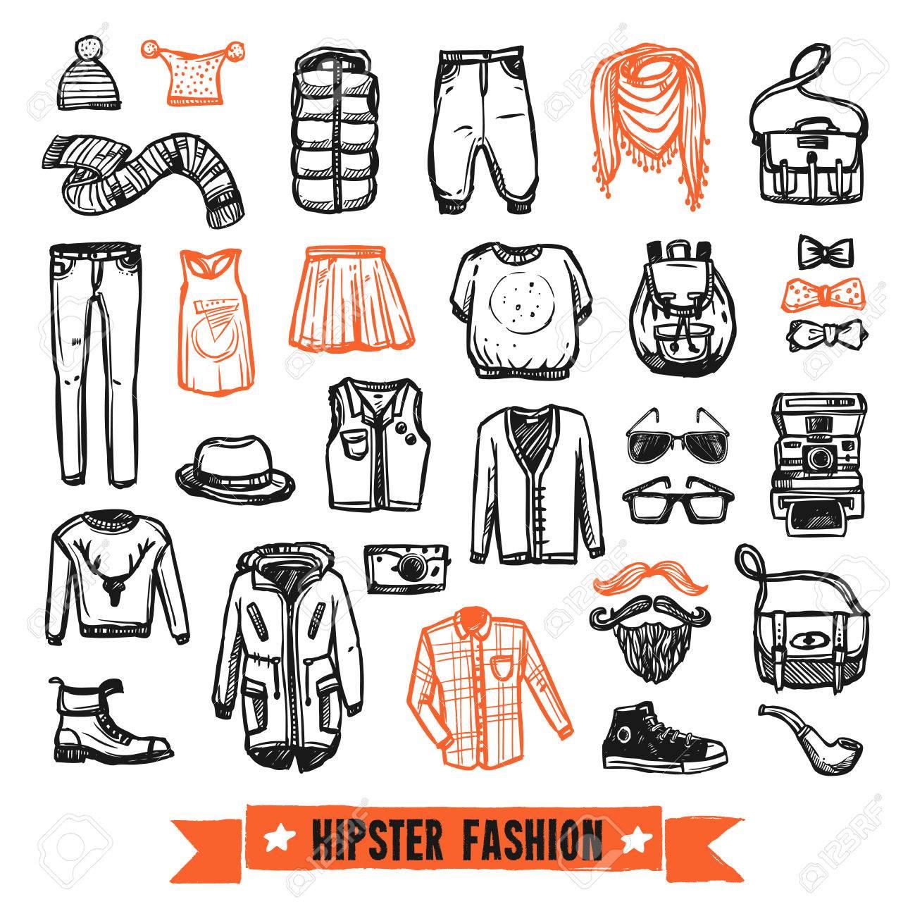Foto de archivo - Ropa de moda última moda y accesorios modernos  pictogramas de estilo dibujo negro y naranja vector de recogida ilustración  abstracta ... d572c0e817f