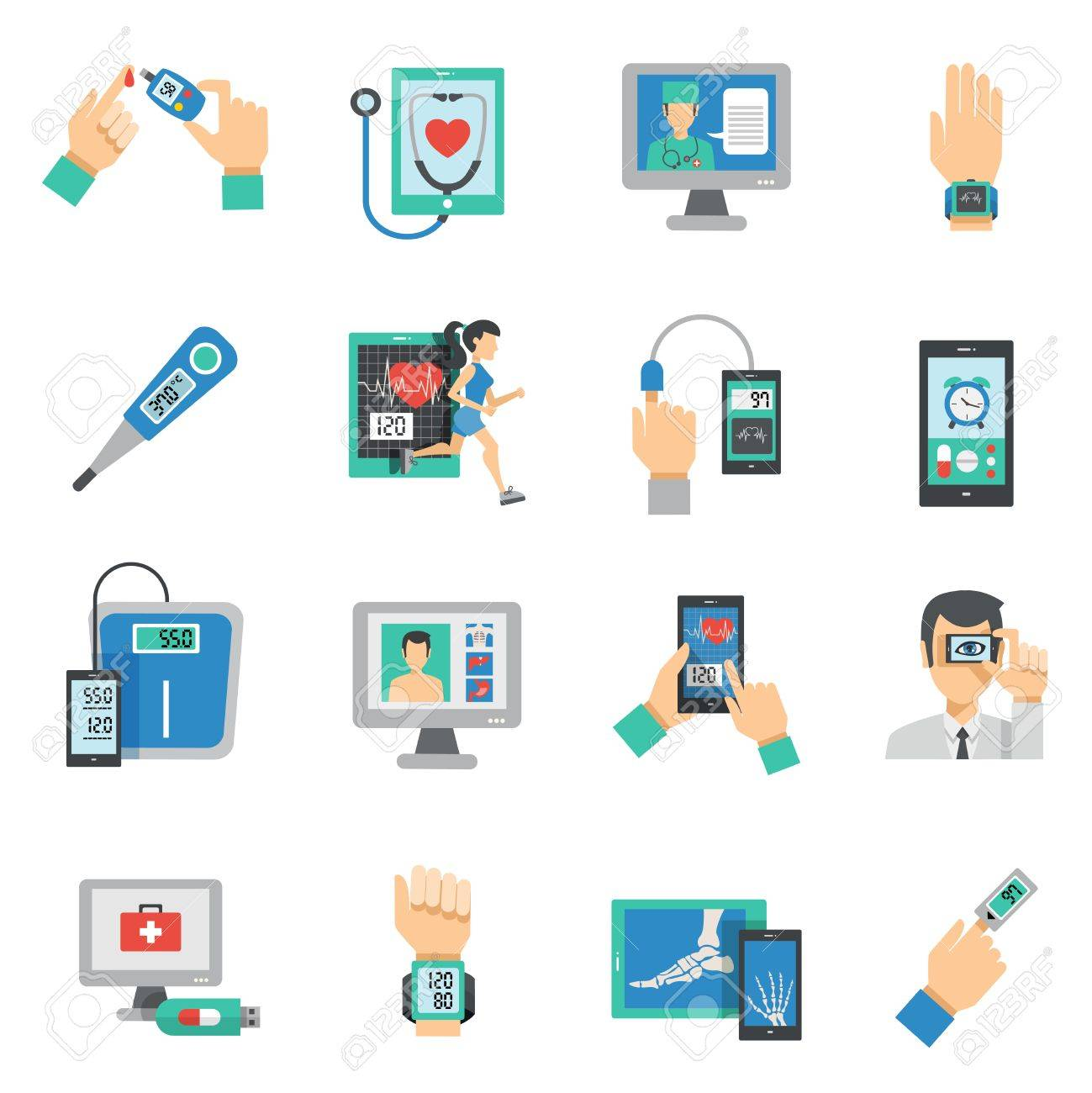 Digital health icons flat set with medical technologies symbols isolated vector illustration - 48259481