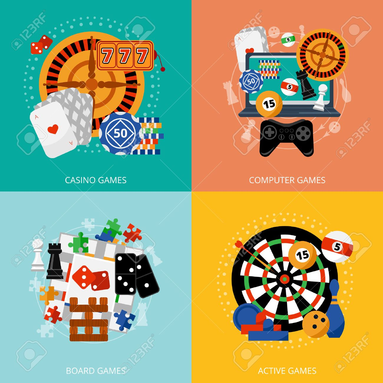 Traditional european roulette table vector illustration stock vector - Online Gambling Popular Gambling Games Of Fortune Entertainment Casino Poster With 4 Flat Icons Composition