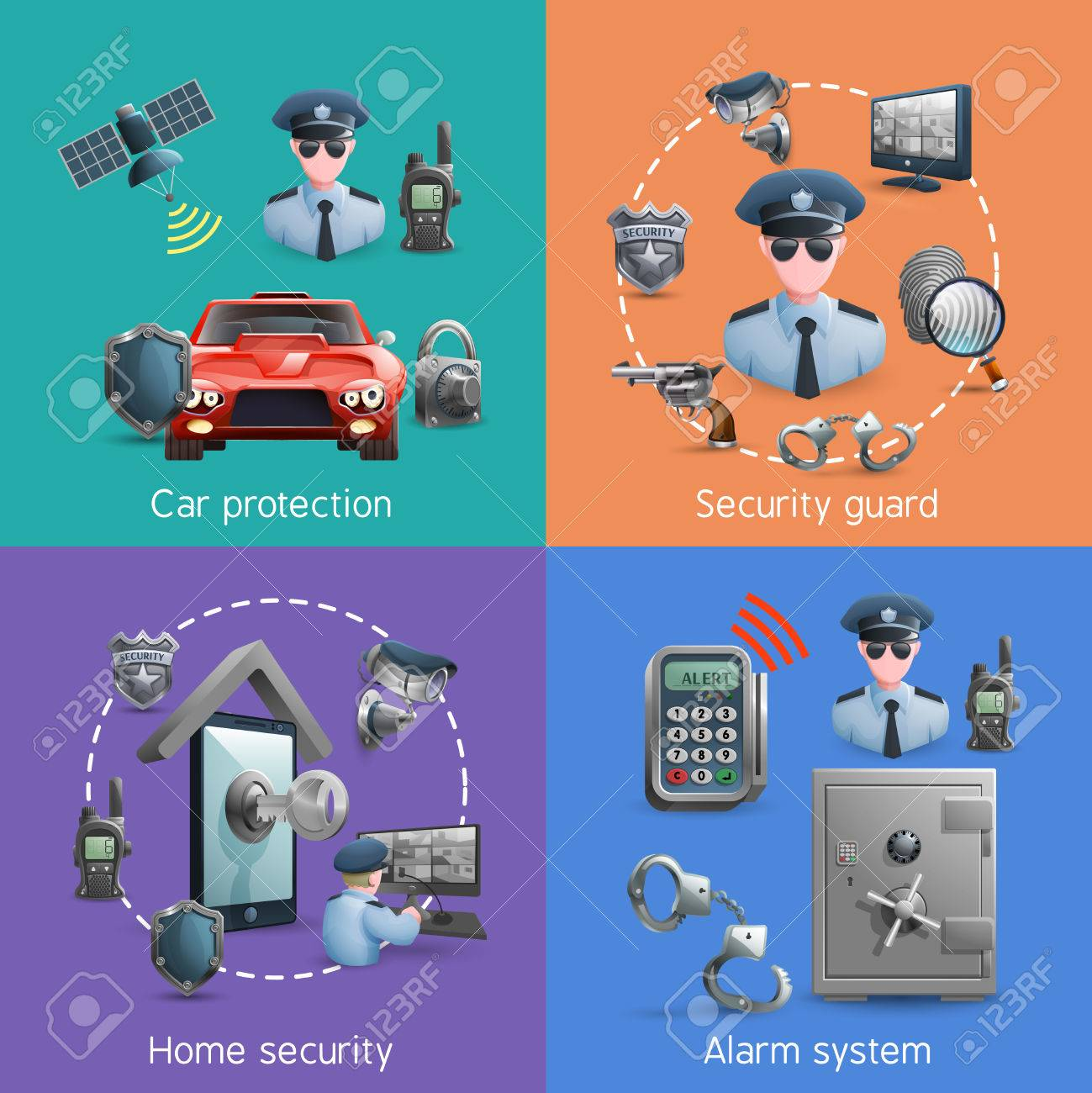Security Design Concept Set With Elements Of Home Safety And