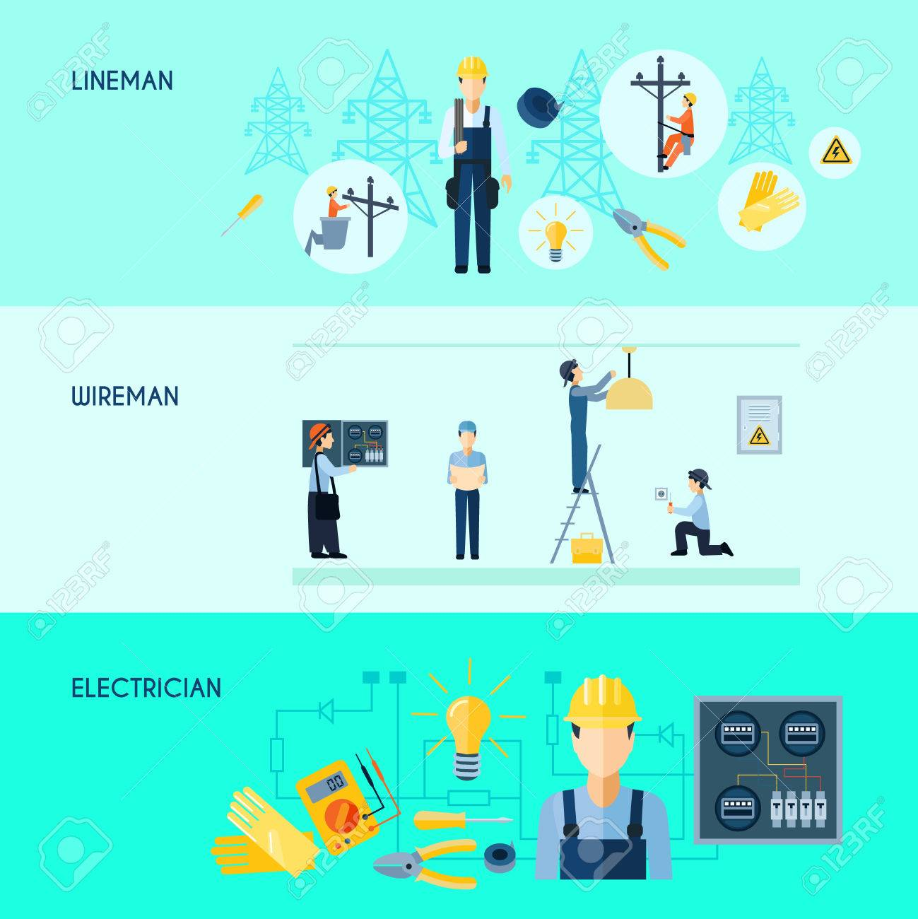 Set of three flat horizontal electricity banners with lineman wireman and electrician vector illustration - 48259957