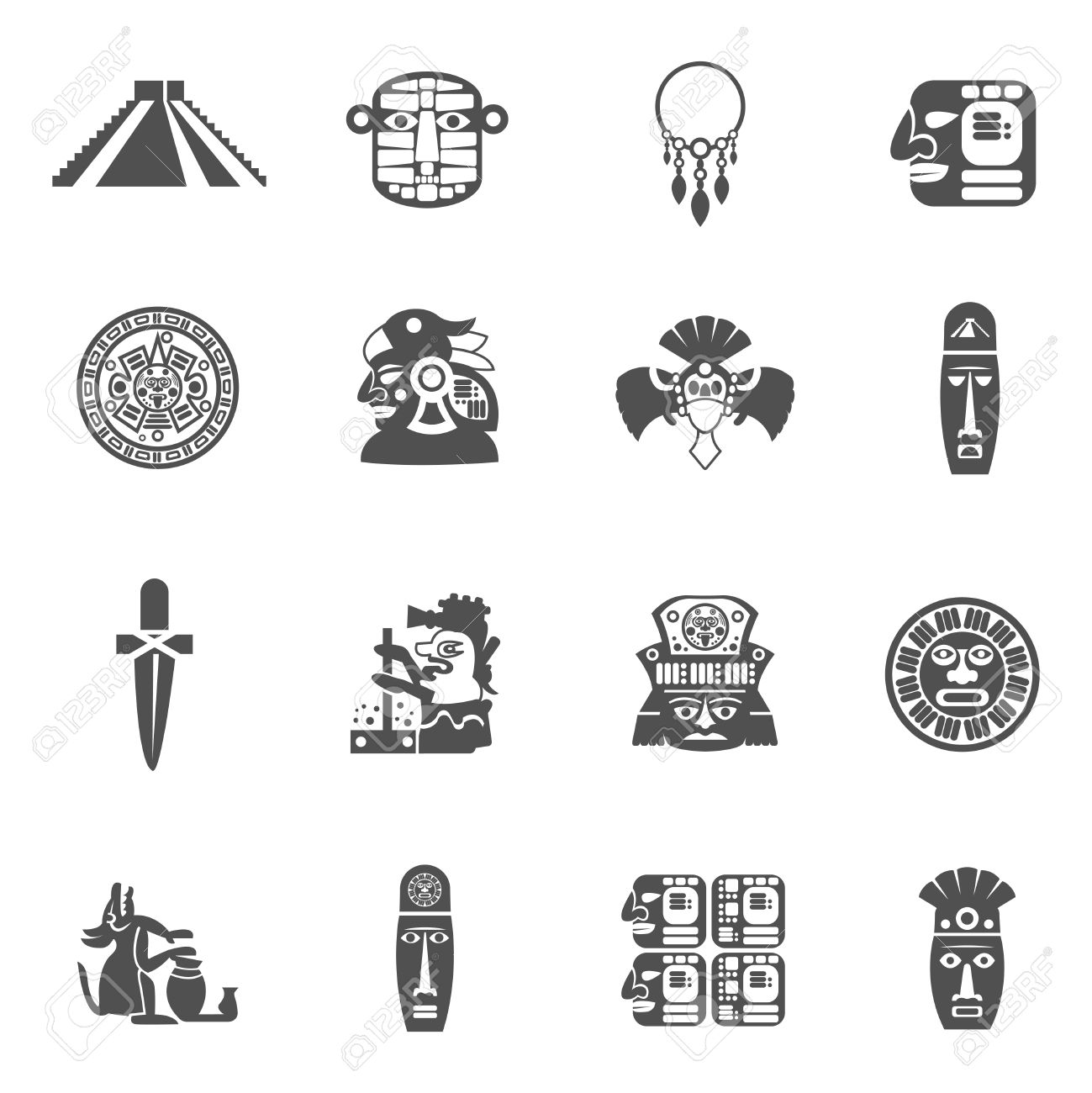 Maya icons black set with traditional mexican indian culture maya icons black set with traditional mexican indian culture symbols isolated vector illustration stock vector buycottarizona Image collections