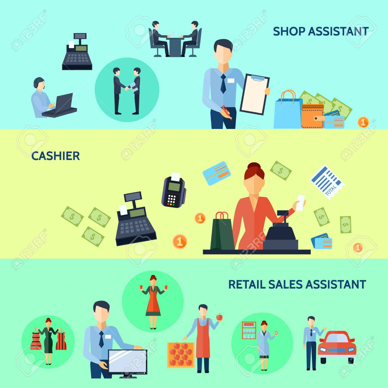 three horizontal flat banners set of shop assistant cashier and three horizontal flat banners set of shop assistant cashier and retail s assistant titles vector