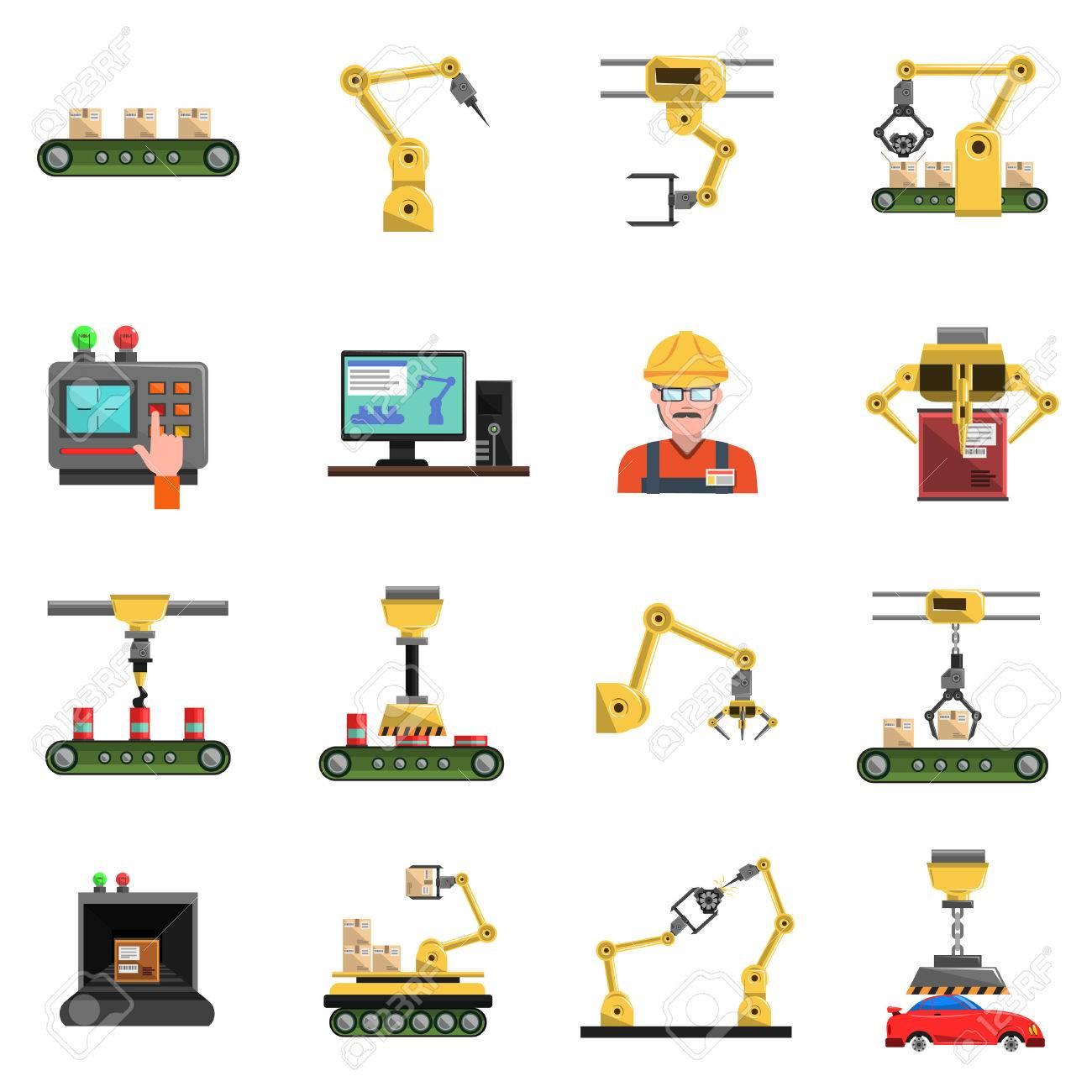 Robot Icons Set With Conveyor Mechanic And Electronics Symbols ...