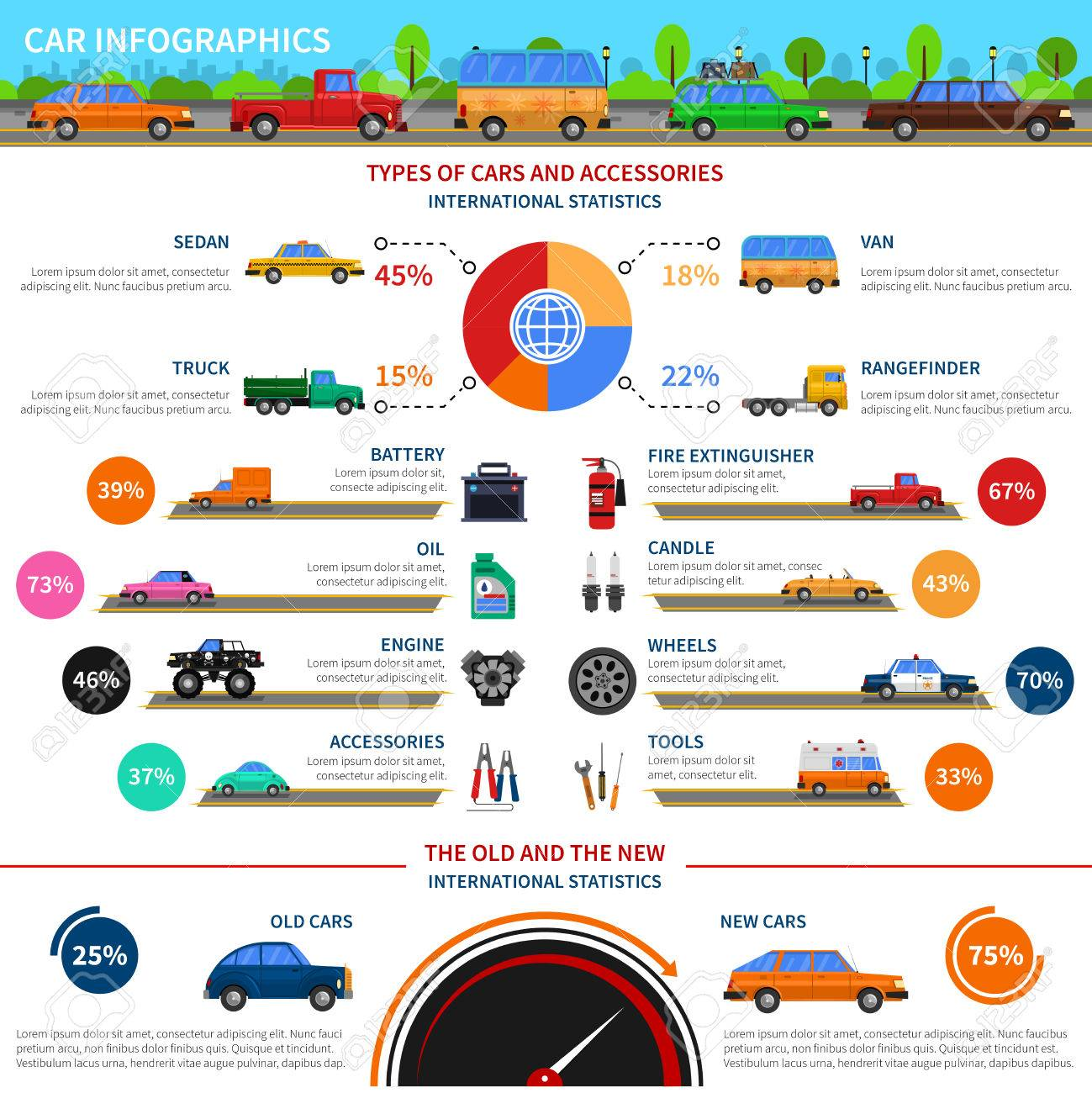 types of cars and accessories infographic set with sedan truck and van flat vector illustration stock