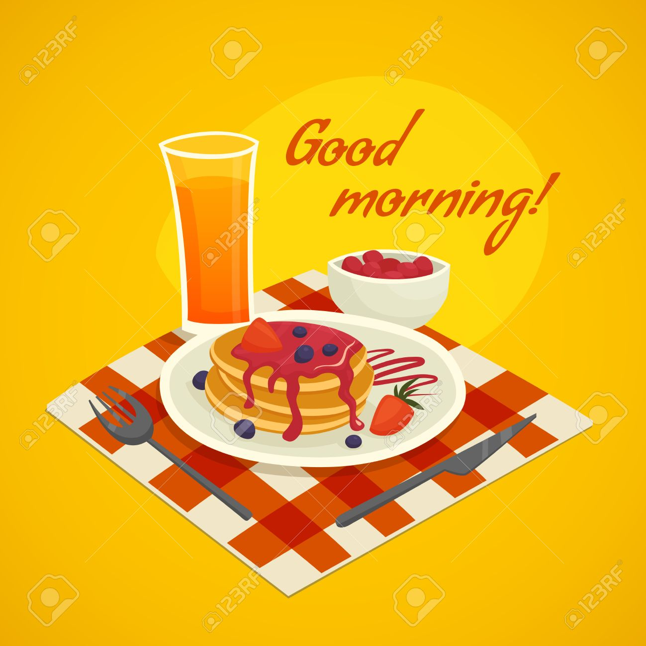 Glass juice cups design - Breakfast Design Concept With Glass Of Orange Juice Plate Of Pancakes And Good Morning Wishing Vector