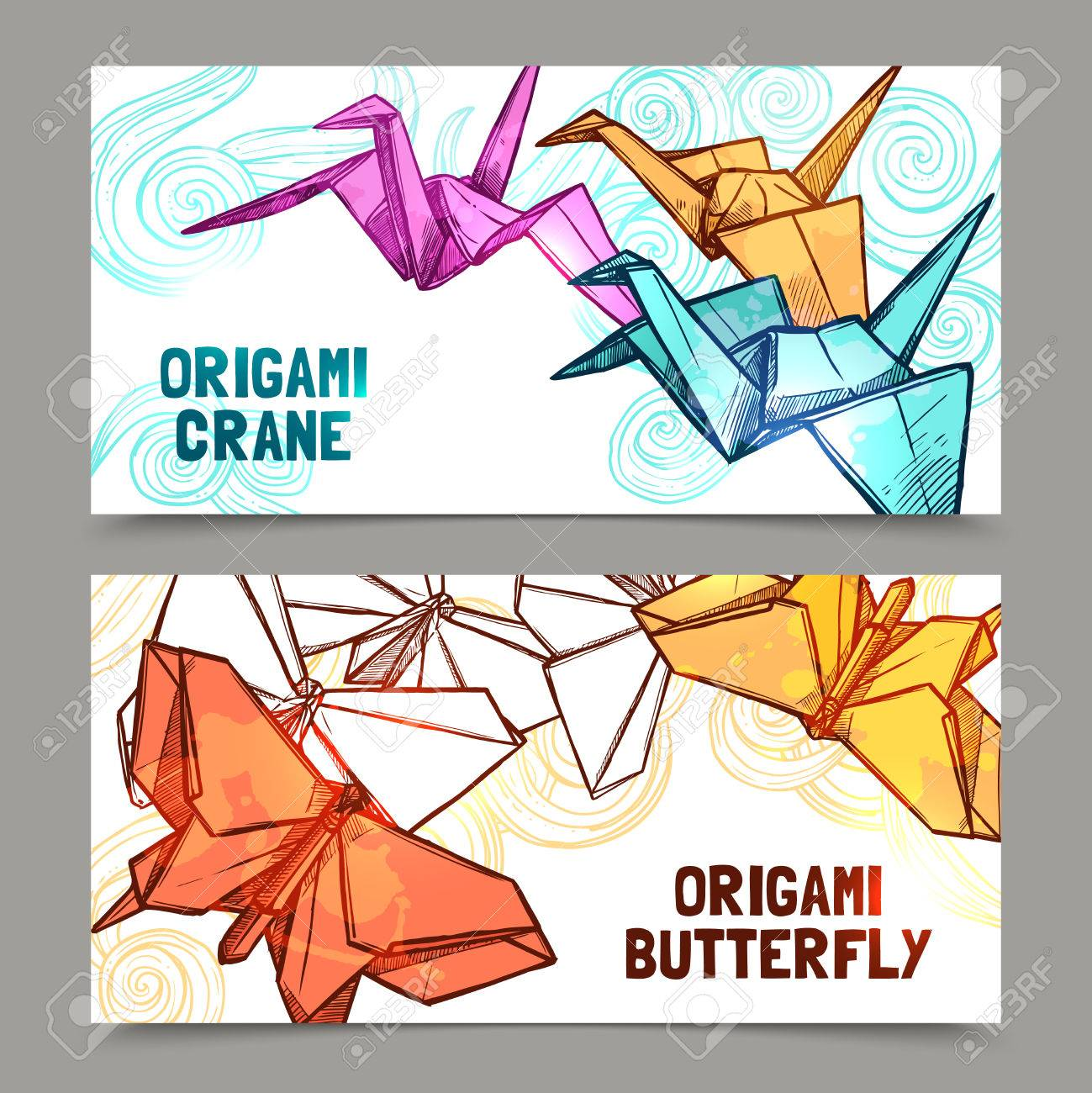 Origami butterflies and cranes paper folded symbols of hope origami butterflies and cranes paper folded symbols of hope 2 horizontal banners set abstract isolated vector buycottarizona Image collections