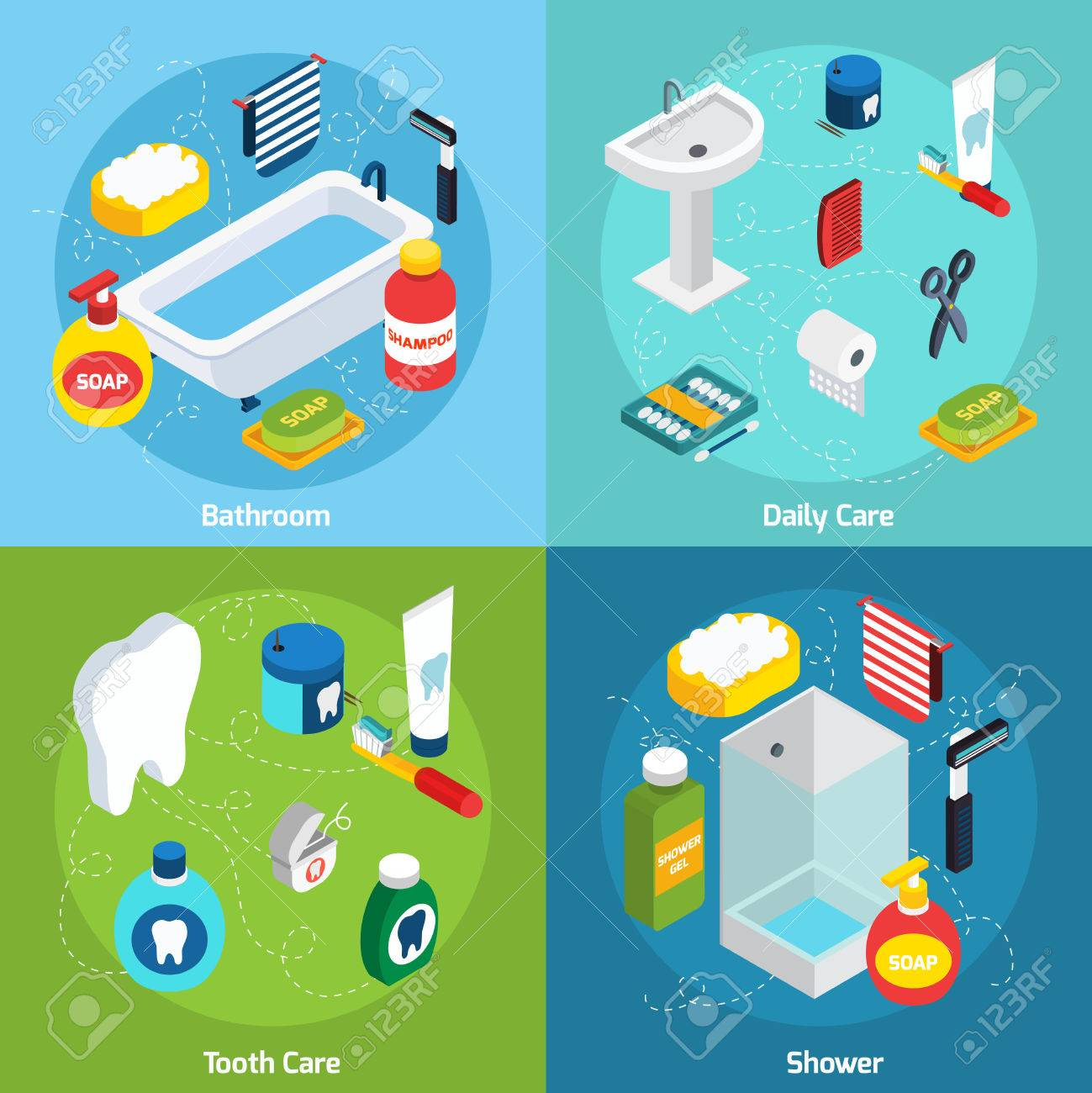 Isometric Concept Set With Bathroom Objects And Means Of Personal