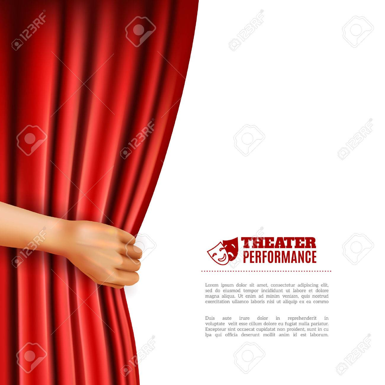 Hand Opening Red Theatre Curtain With Performance Symbols ...