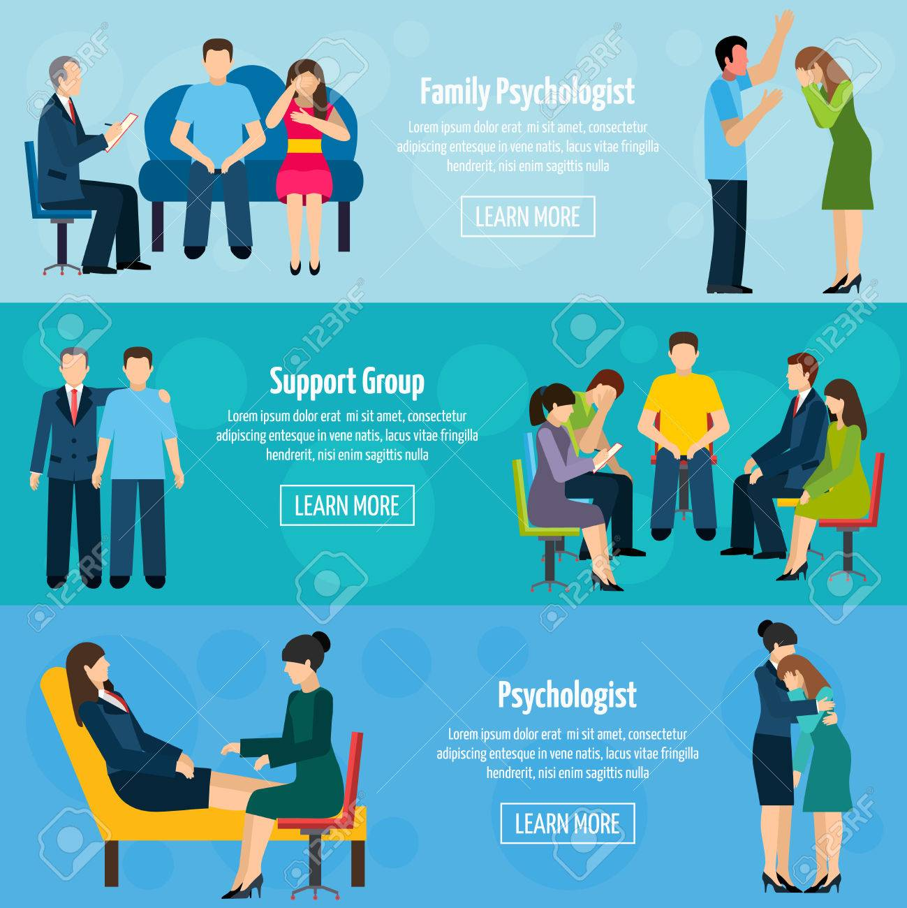 Family psychiatrist counseling and support group 3 flat horizontal mental health banners set abstract isolated vector illustration - 49539943