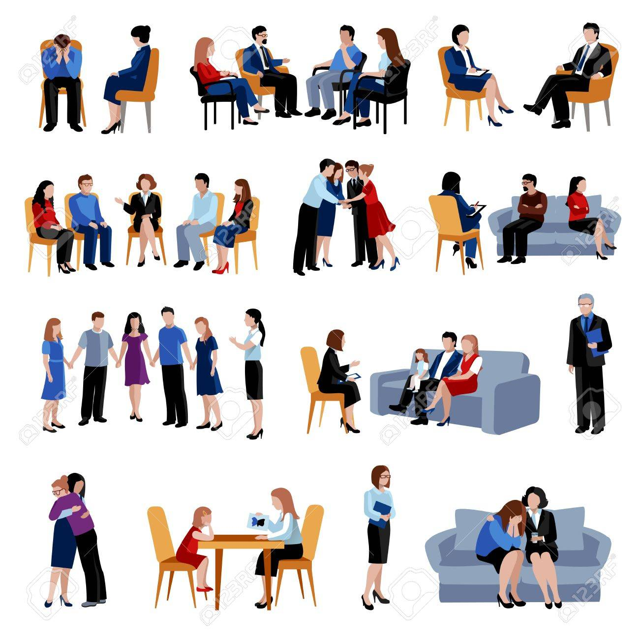 Family and relationship problems counseling and therapy with support group flat icons collection abstract isolated vector illustration - 49540094