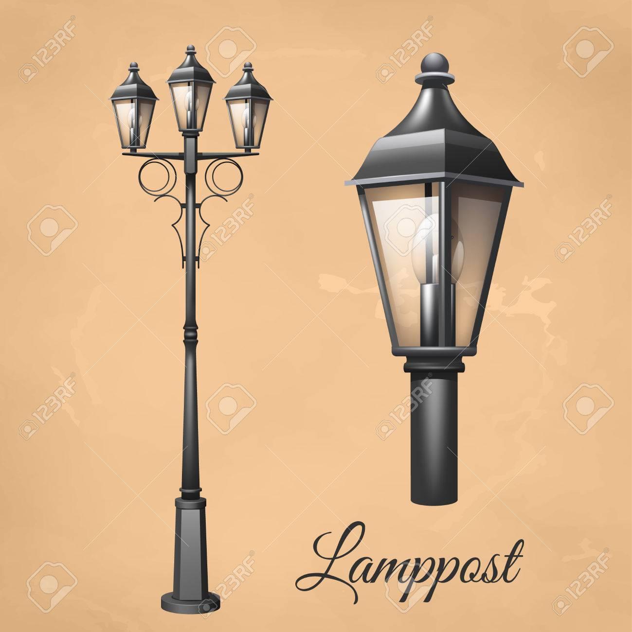 Isolé Set Illustration Lanterne Électrique Retro Lampadaire Vintage Vectorielle EDH29WI