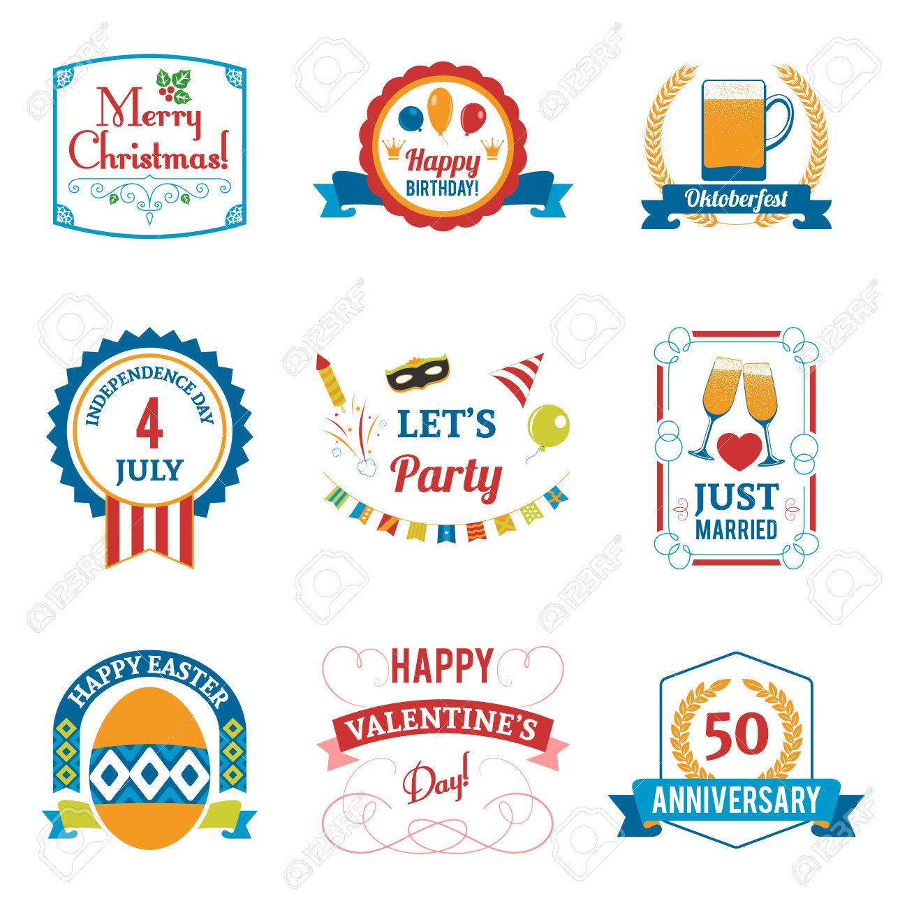 Holiday Celebration Emblems Set With Birthday Christmas And Easter ...