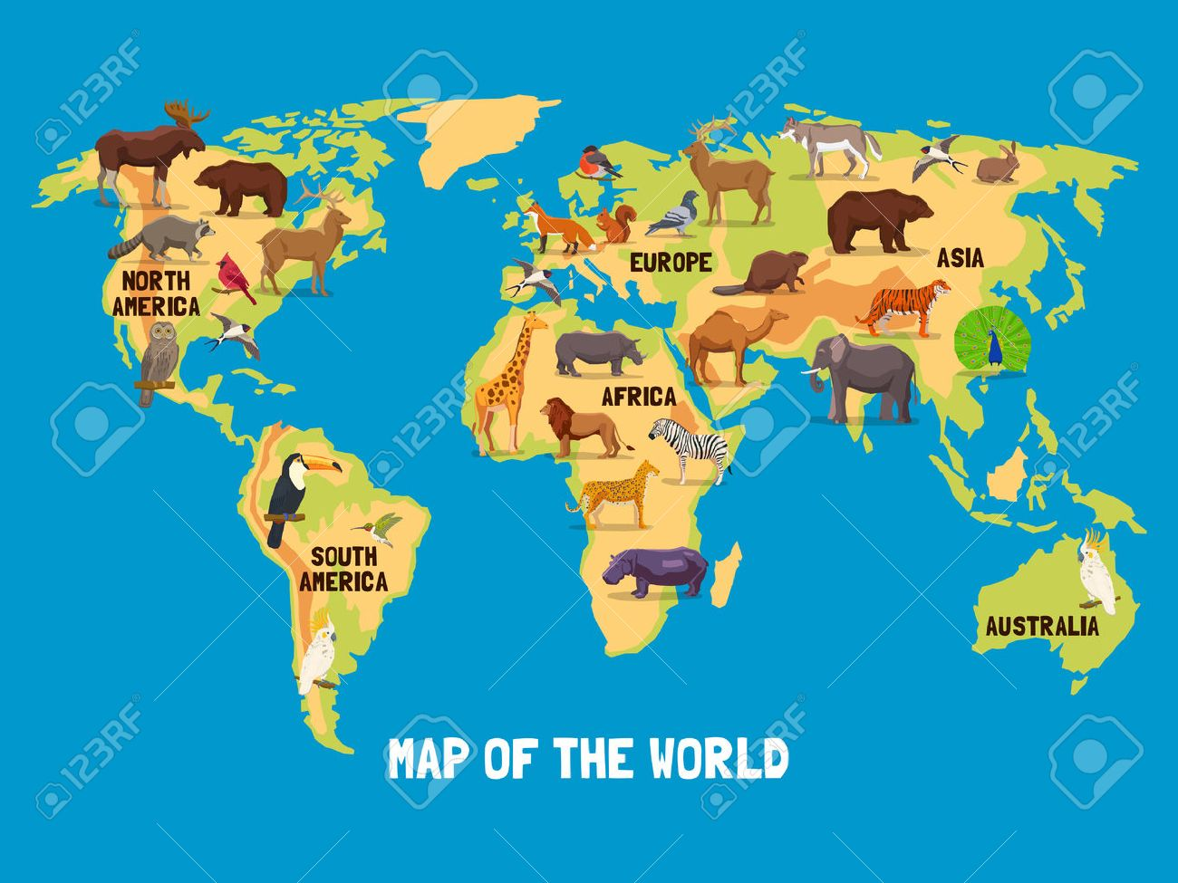 Flat Map Of World With Animals Living In Different Parts Of - Flat map of the world