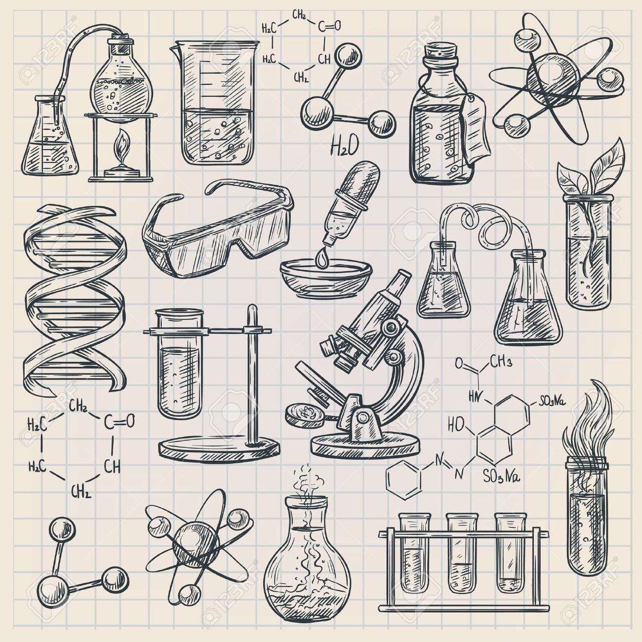 Chemistry icon in doodle style with burner flask dna structure and formulas of organic substances isolated vector illustration - 49541067