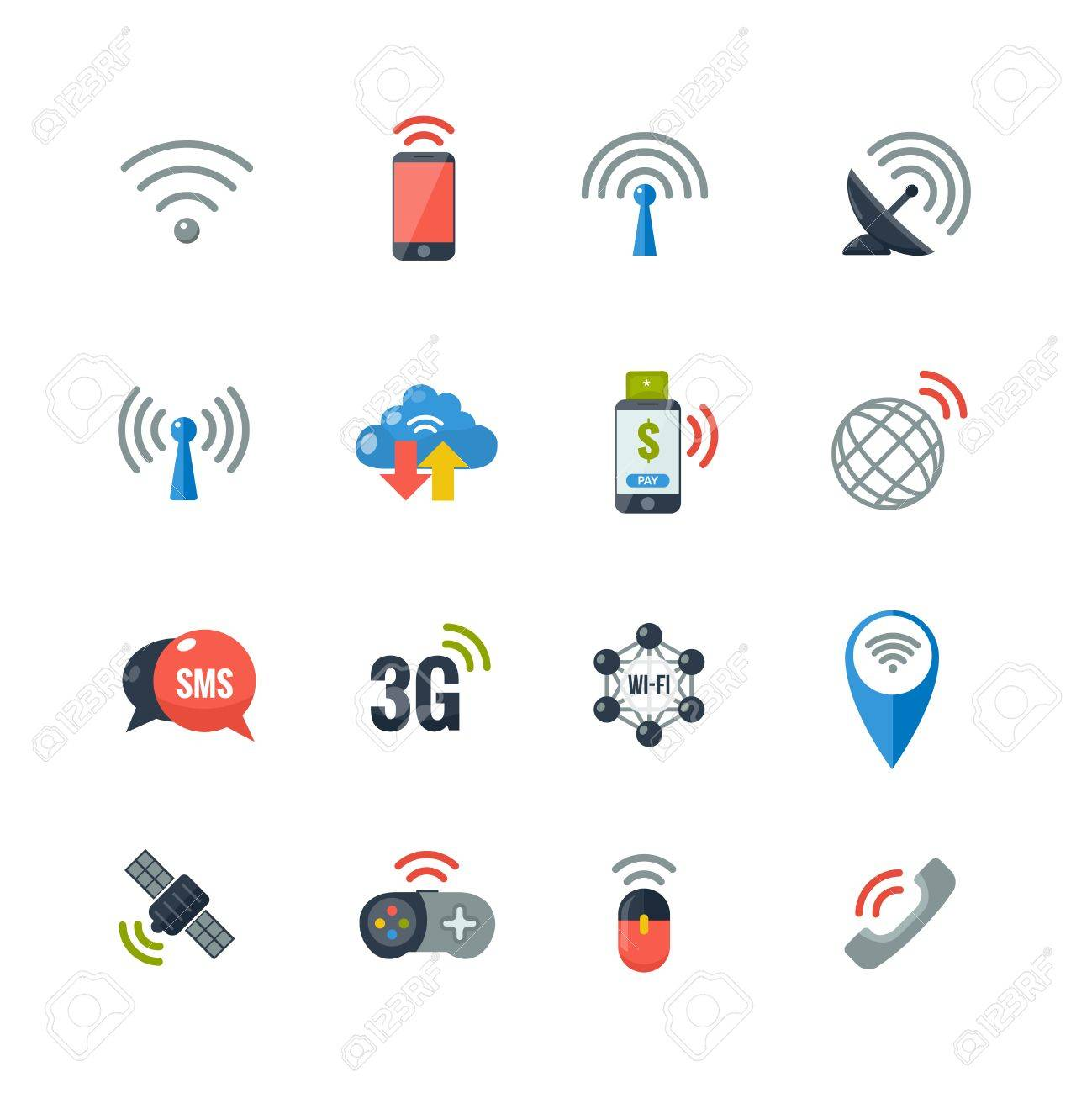 Wireless communication information transfer technology flat icons vector wireless communication information transfer technology flat icons collection with antenna and smart cell phone abstract isolated vector freerunsca Gallery