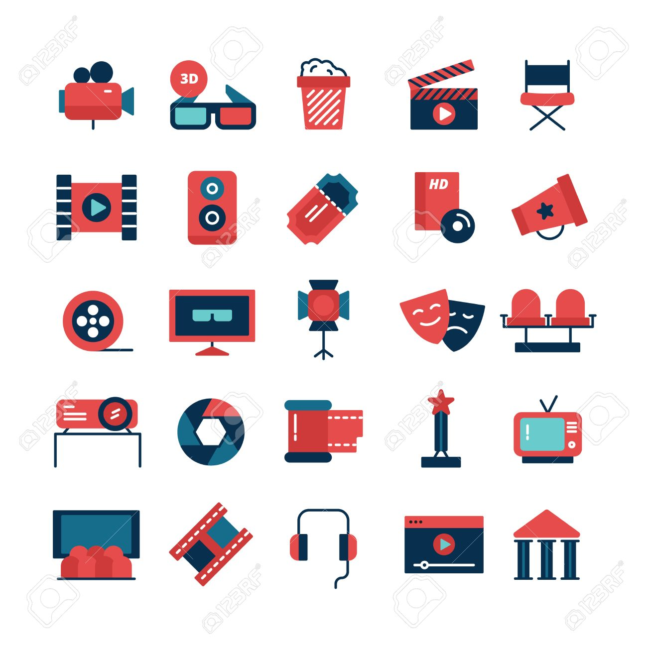 Flat color set of movie icons and cinema symbols with camcorder flat color set of movie icons and cinema symbols with camcorder tv screen 3d glasses and buycottarizona