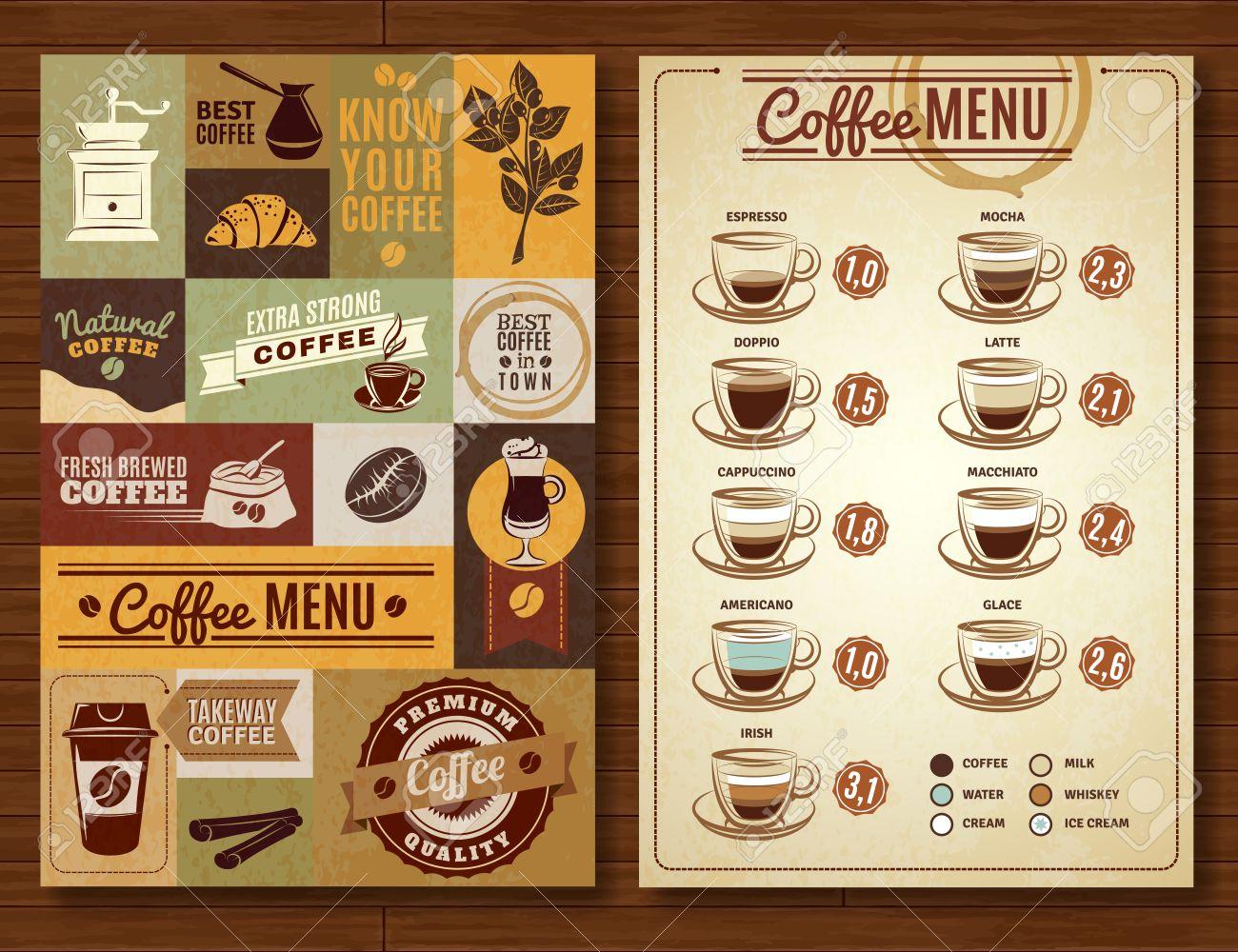 Coffee Menu Board For Bar Cafe Restaurant Vintage Style 2 Vertical ...