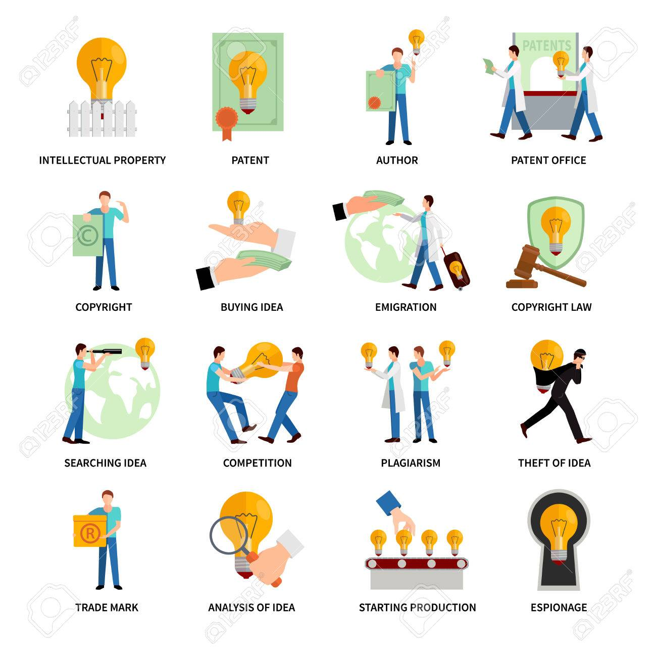Intellectual Property Flat Icons Set With Author Trademark Copyright