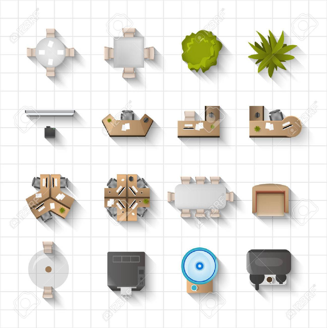 designer office desk isolated objects top view. Office Interior Furniture Icons Top View Set Isolated Vector Illustration Stock - 49542483 Designer Desk Objects K
