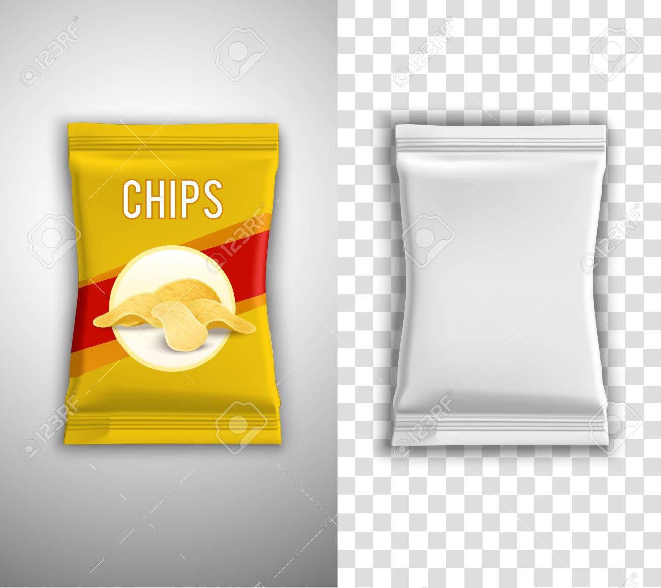 Chips Realistisch Verpackungs-Design Mit Leeren Weißen Vorlage Und ...
