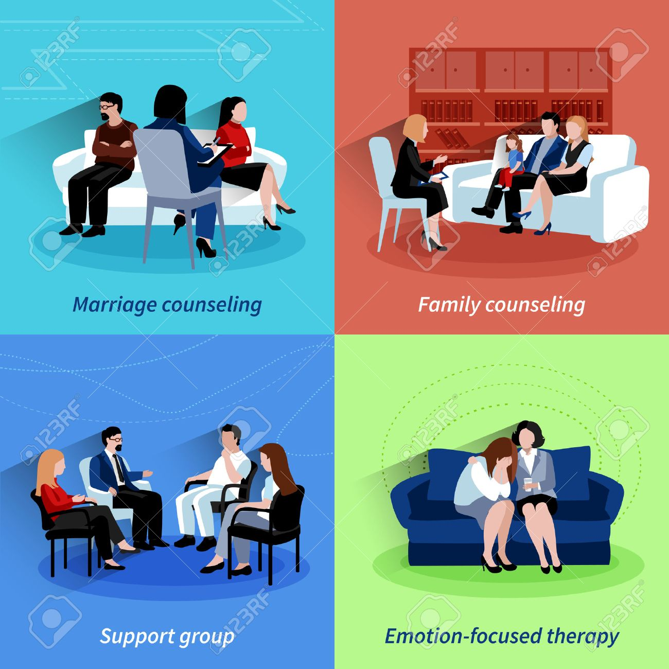Marriage counseling center family support and emotions therapy