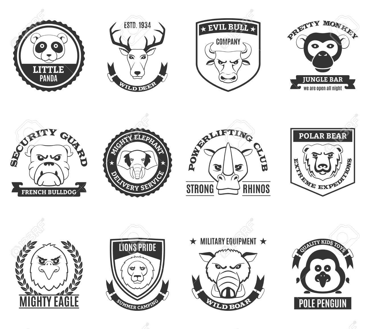 Wild Animal Black White Labels Set With Powerliftinng Club And